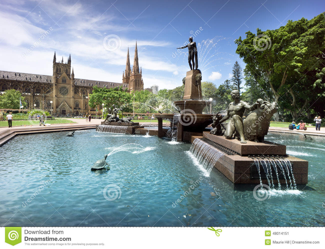 Water fountains hyde park - Hyde Park Cathedral Sydney Australia Editorial Photo