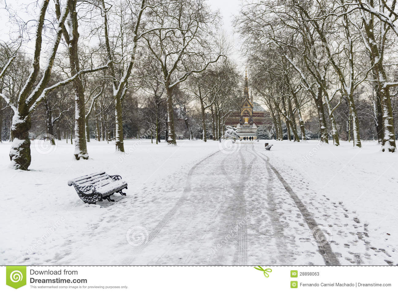 hyde park covered in snow with albert memorial in the