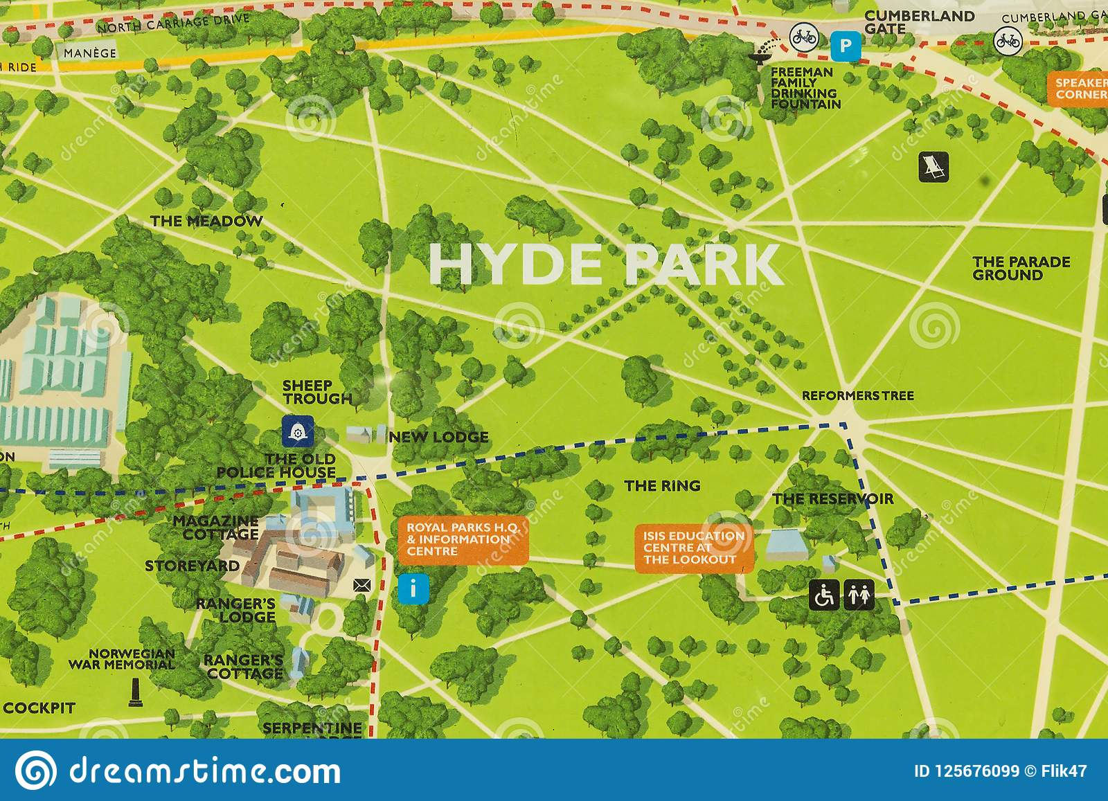 Hyde Park London Uk Map Editorial Stock Image Image Of City
