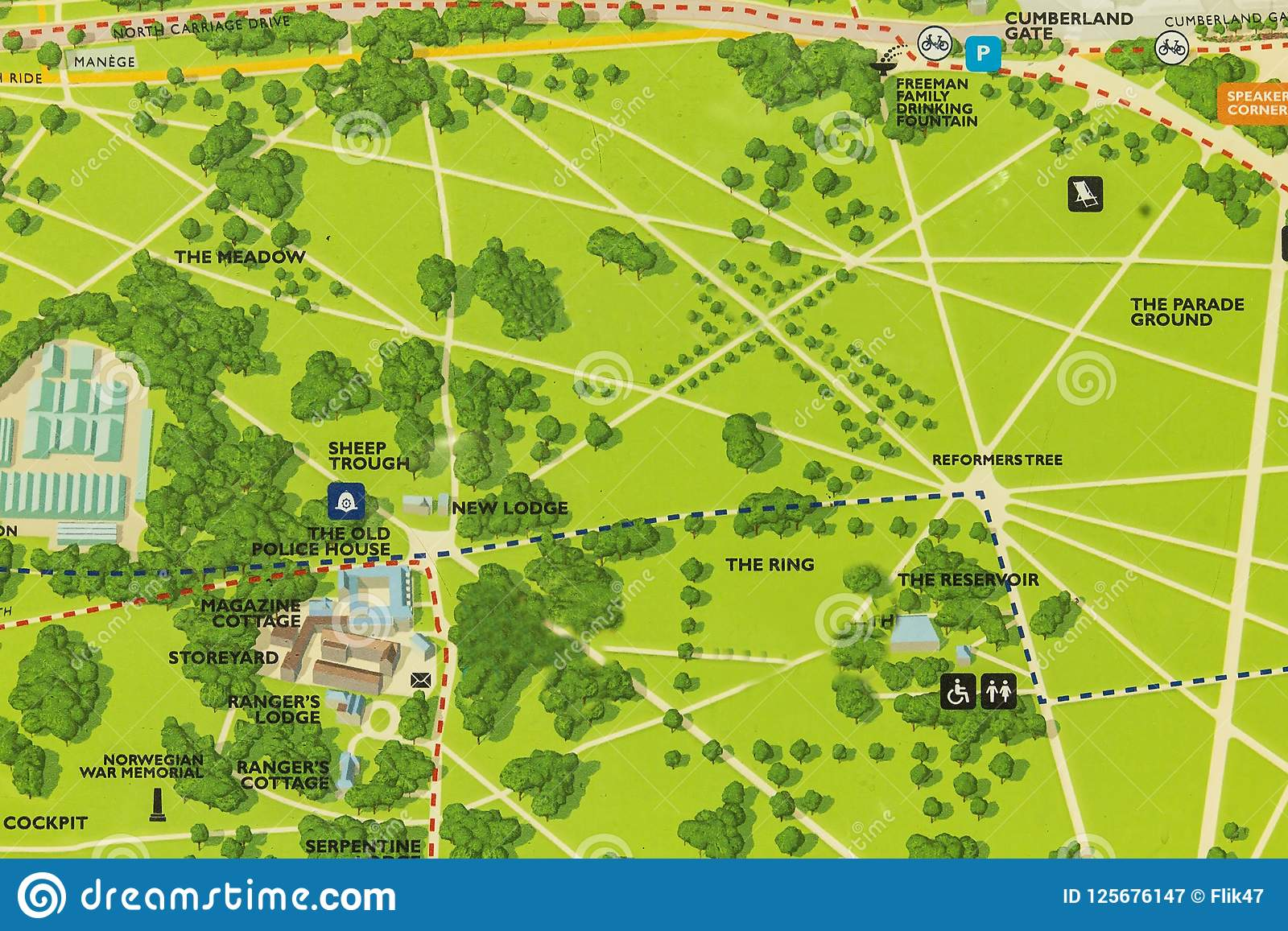 Detailed Map Of London.Hyde Park London Uk Map Editorial Photography Image Of Plan