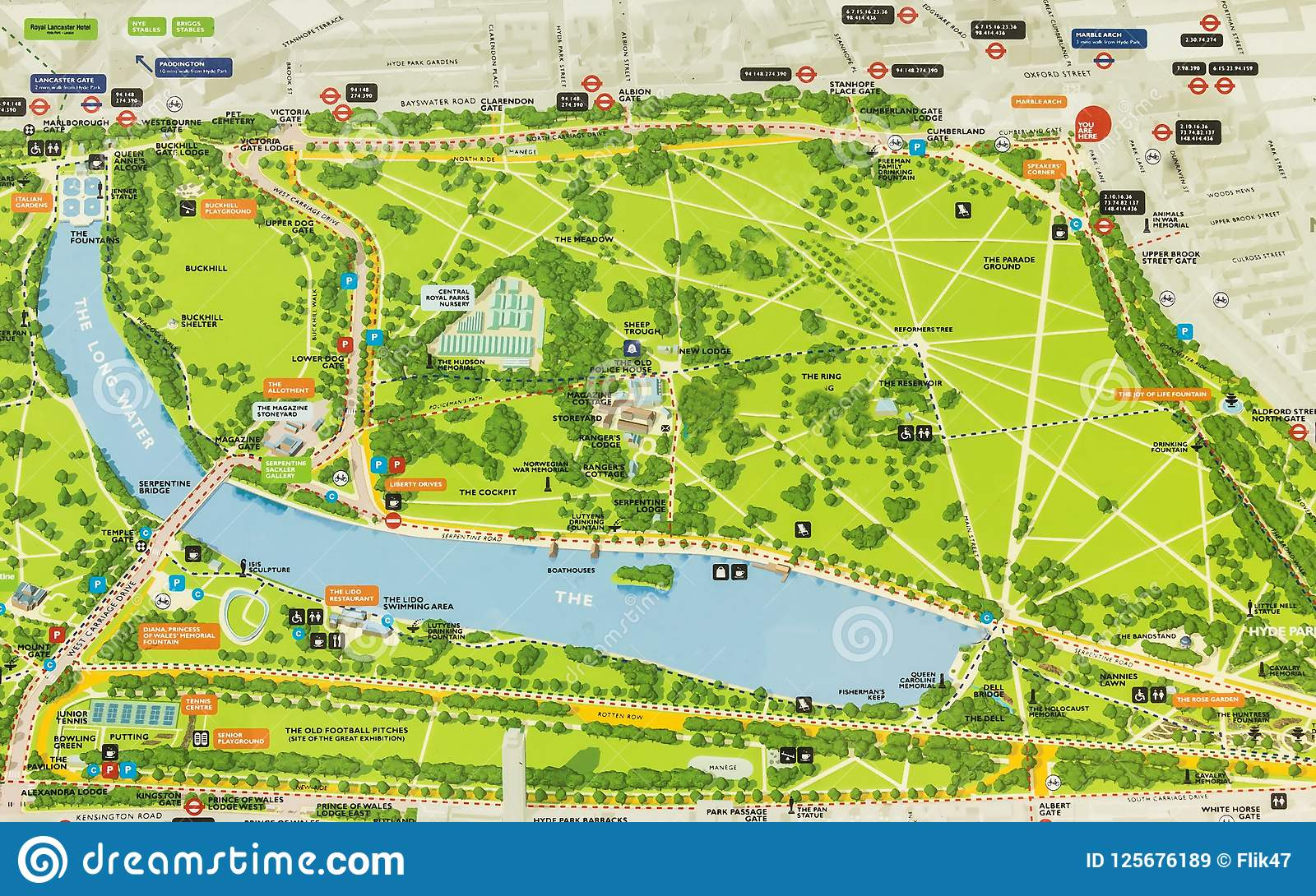 Hyde Park London Map Hyde Park. London, UK map. editorial stock image. Image of design