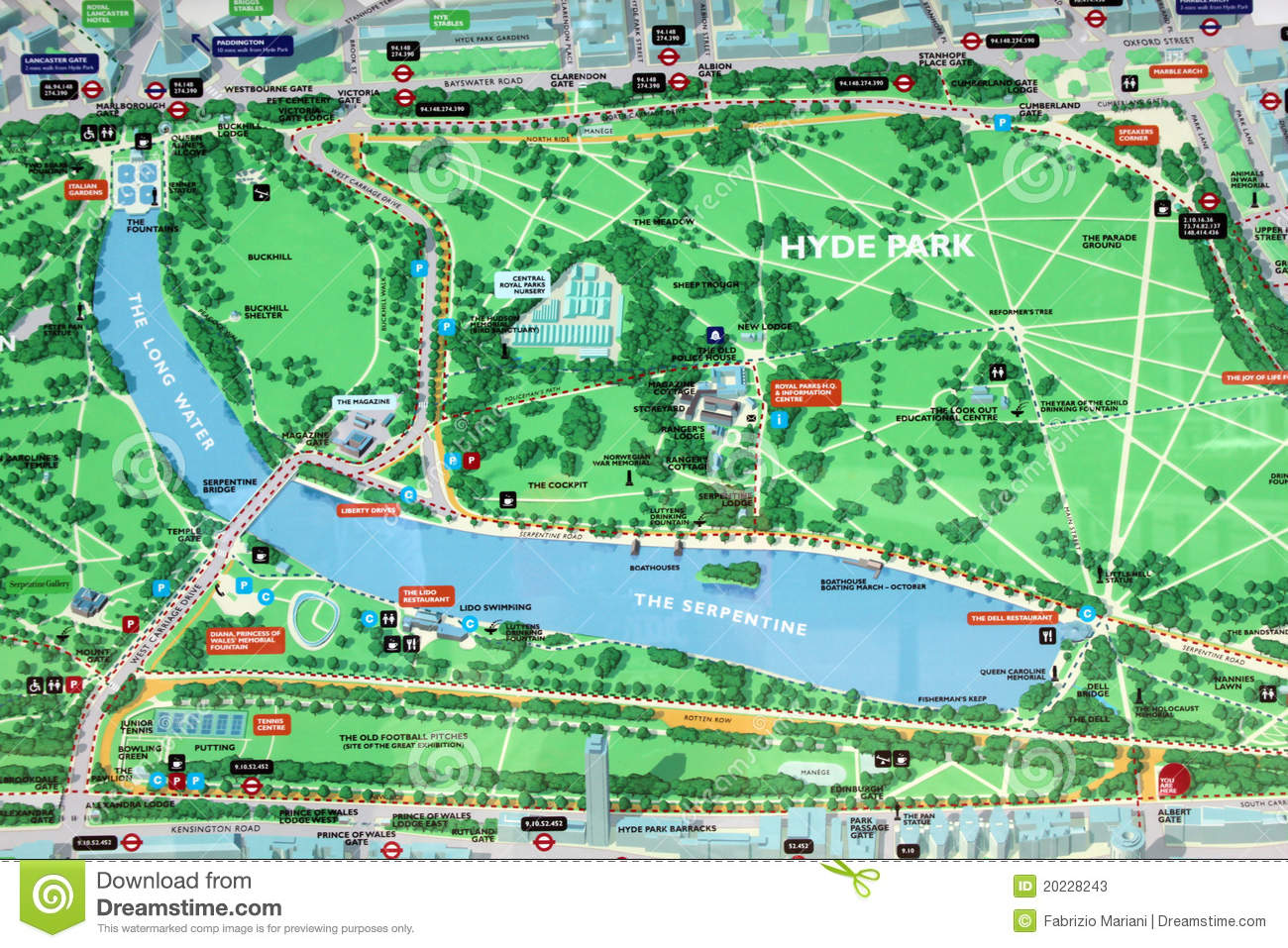 Hyde Park London Map Hyde Park map sign editorial stock photo. Image of tourist   20228243