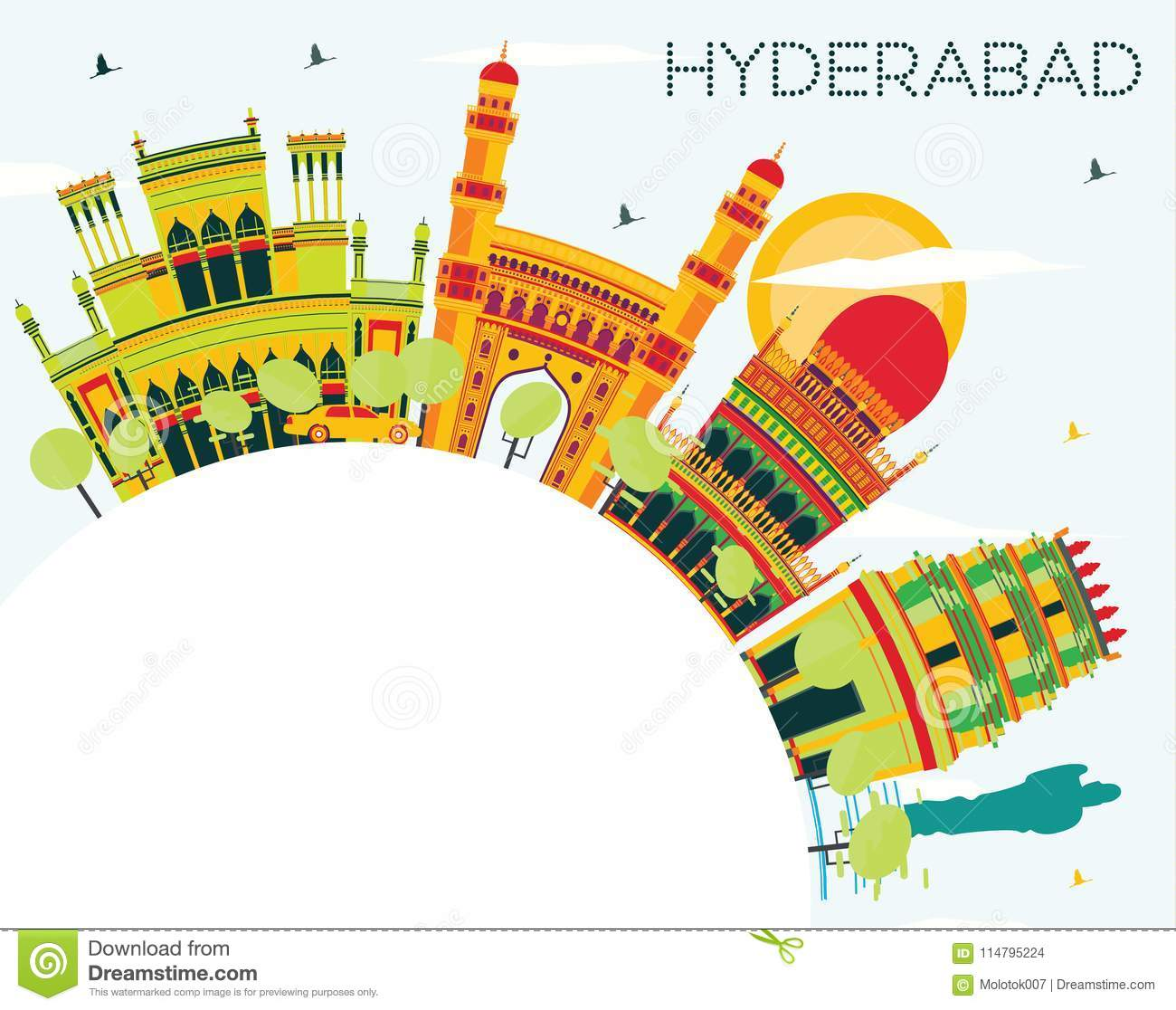 Hyderabad City Skyline with Color Buildings and Copy Space.