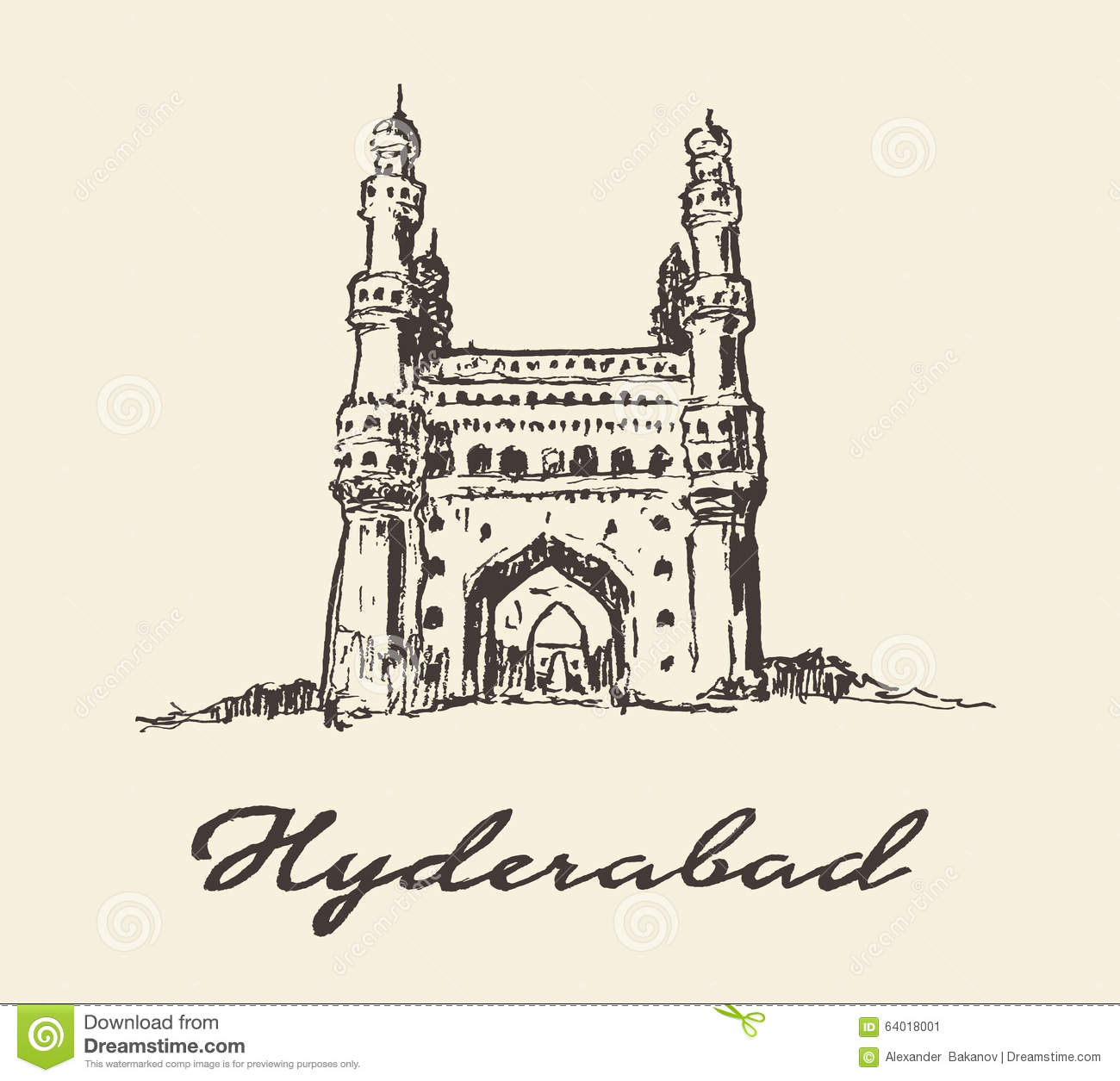 hyderabad india charminar vector drawn sketch stock vector