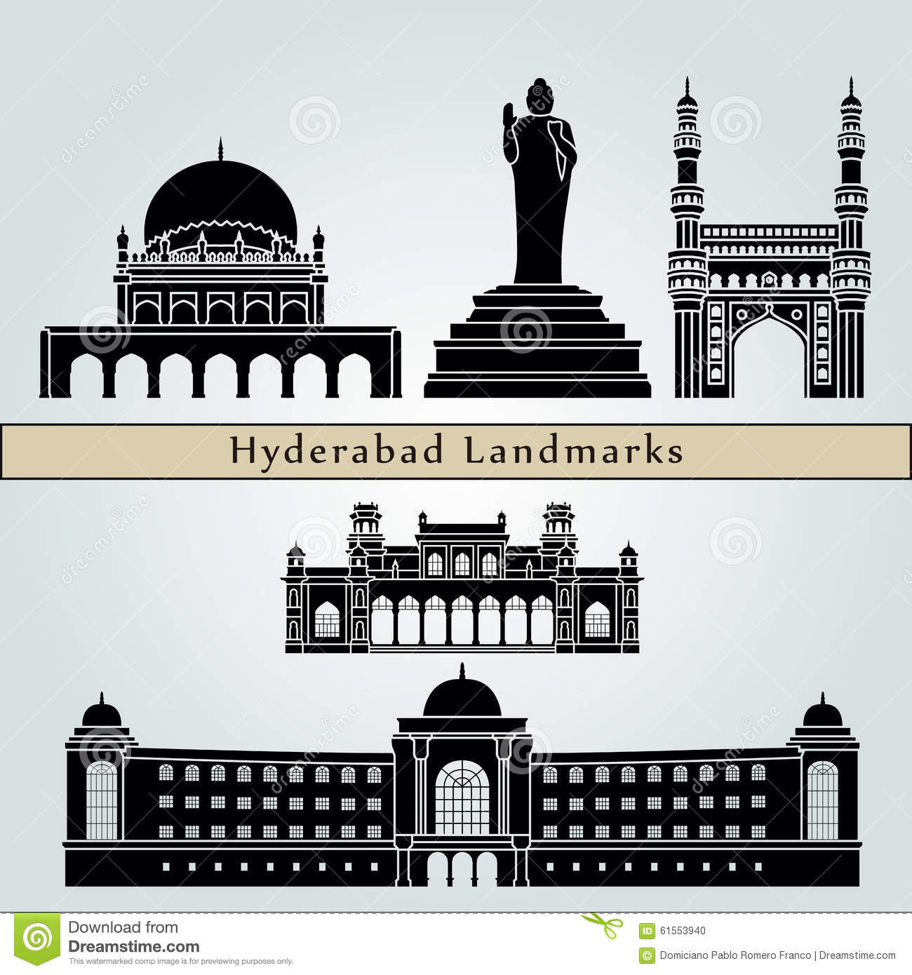 Hyderabad Landmarks And Monuments Stock Vector