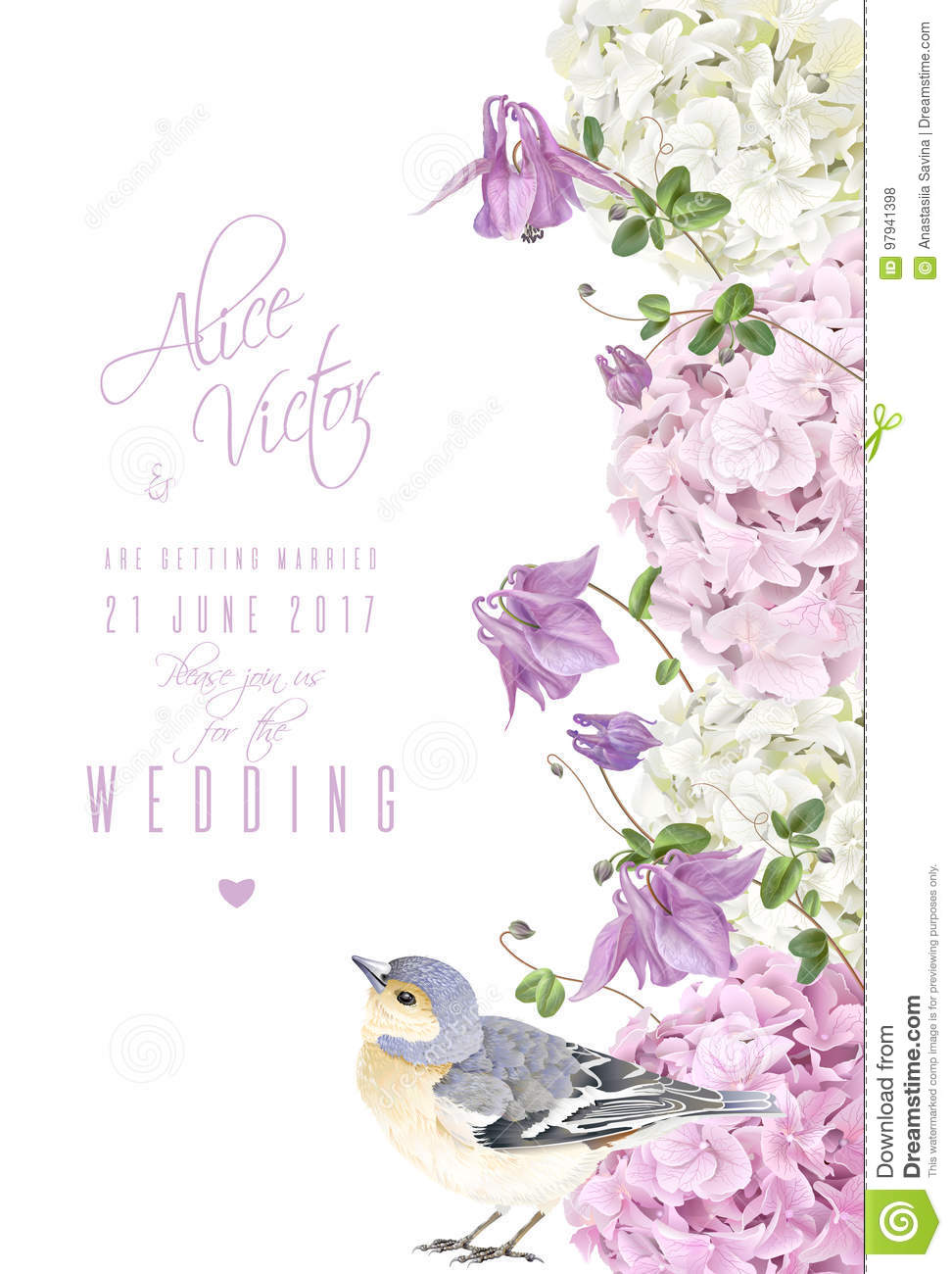 Hydrangea Bird Vertical Banner Stock Vector Illustration Of Card