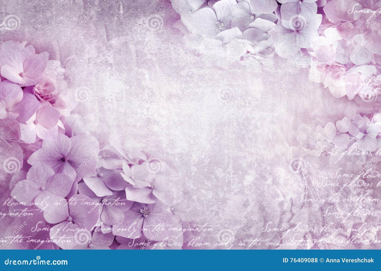Hydrangea hortensia bloemenprentbriefkaar Kan als groetkaart, uitnodiging voor huwelijk, verjaardag en andere vakantie het gebeur