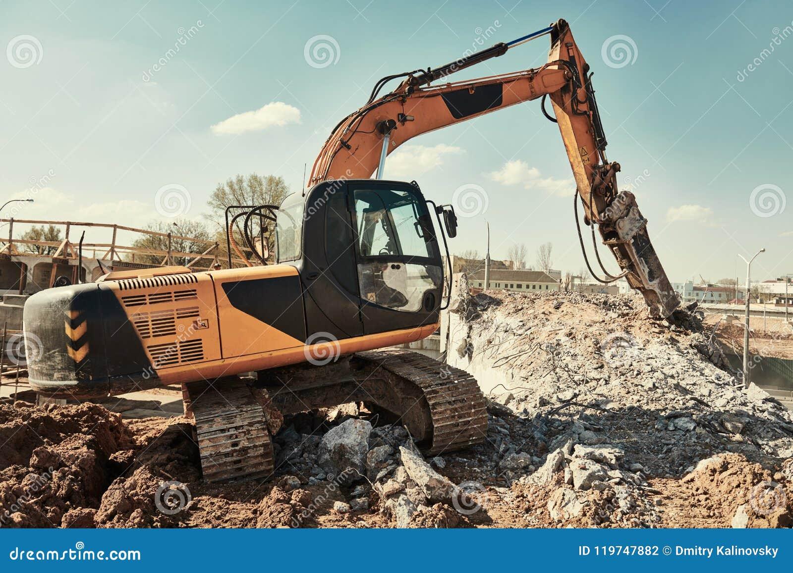Hydraulic Breaker Hammer Excavator At Demolition Work Editorial
