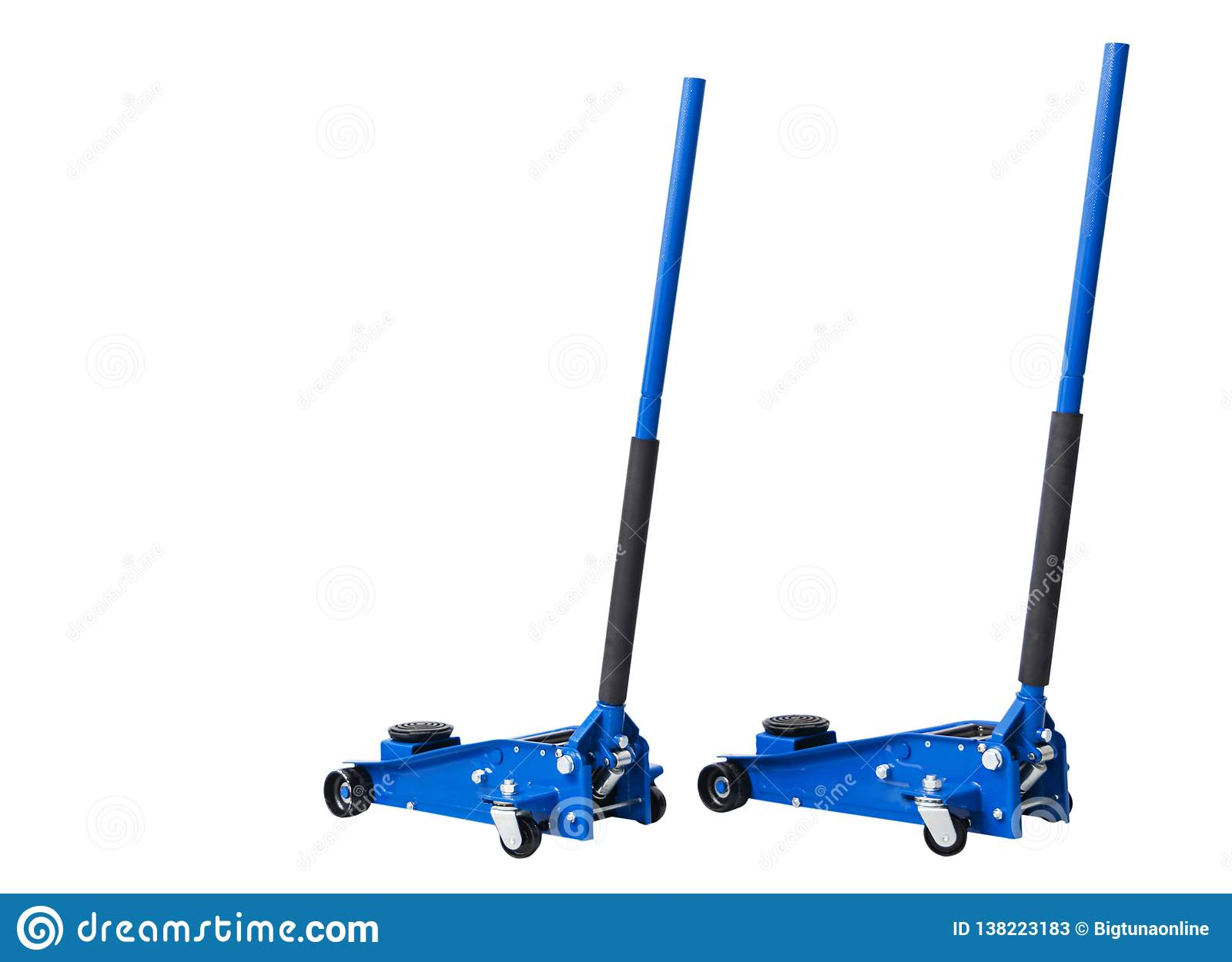 Hydraulic car floor jacks isolated on white background. Car Lift. Blue Hydraulic Floor Jack For car Repairing. Extra safety measur