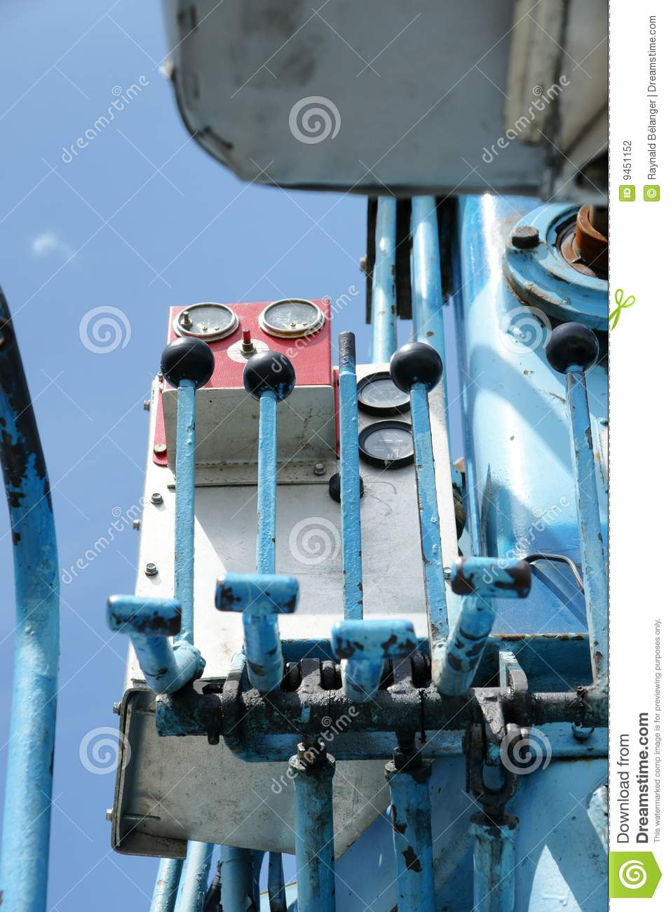 Crane Control Levers : Hydraulic control stock photography image