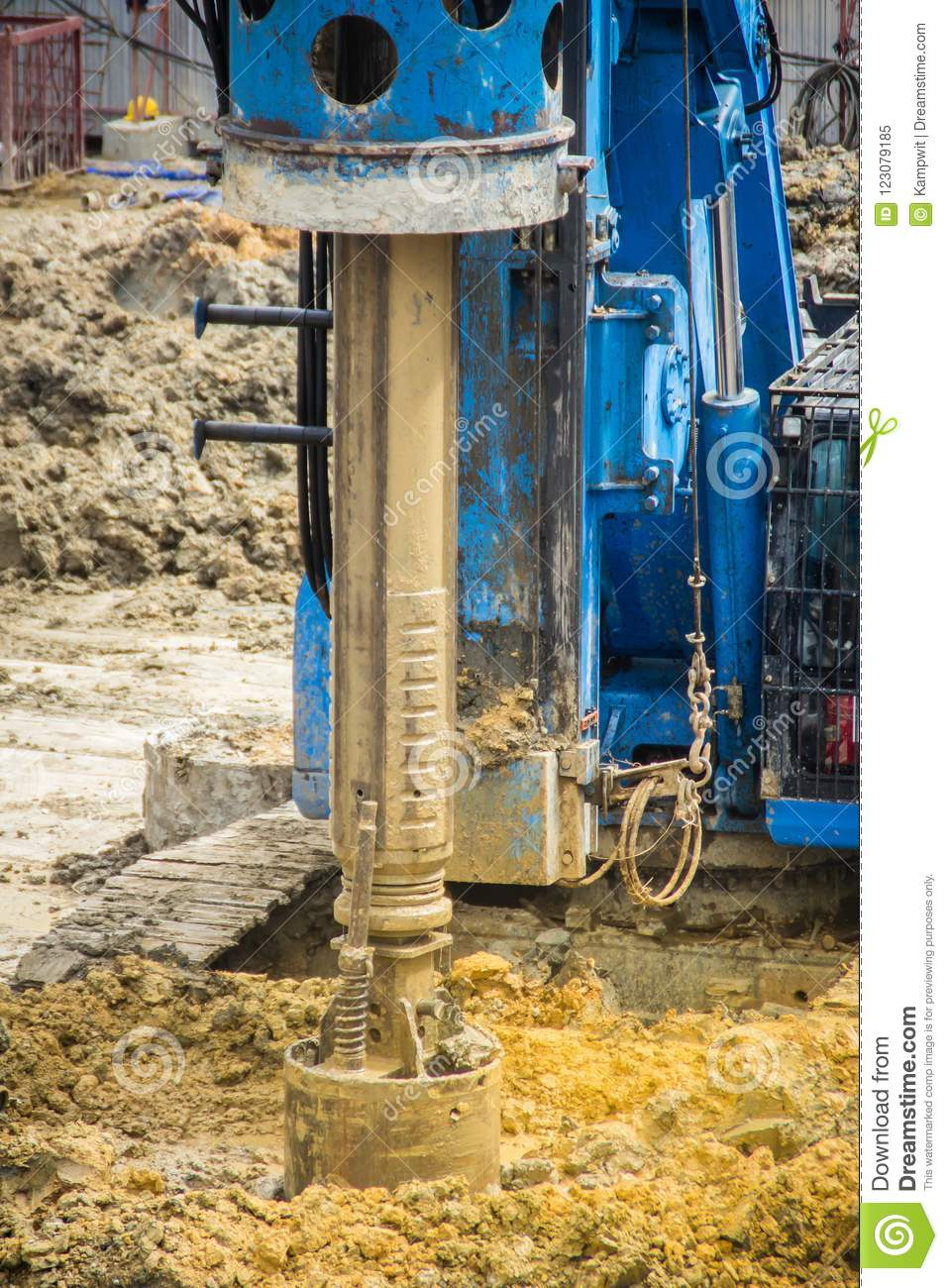 Hydraulic Drilling Machine Is Boring Holes In The