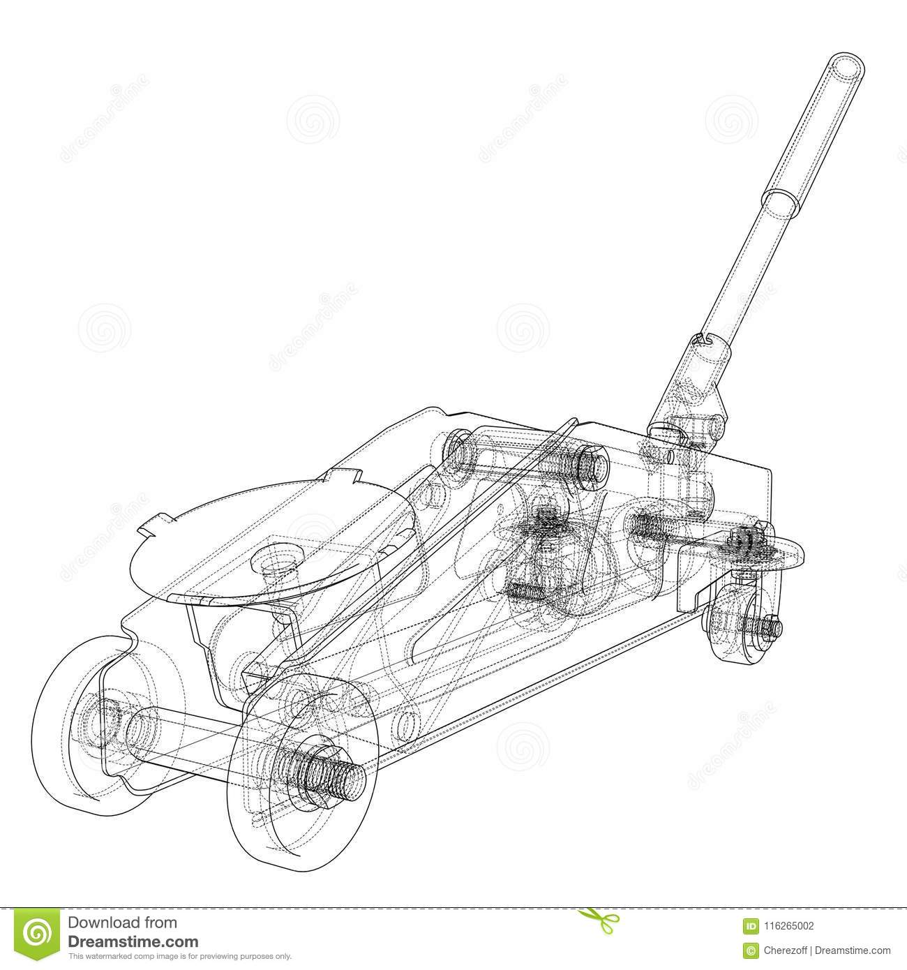 Hydraulic Floor Jack Outline Vector Stock Illustration Of Car Hydraulics Wiring Diagram Rendering 3d Wire Frame Style The Layers Visible And Invisible Lines Are Separated