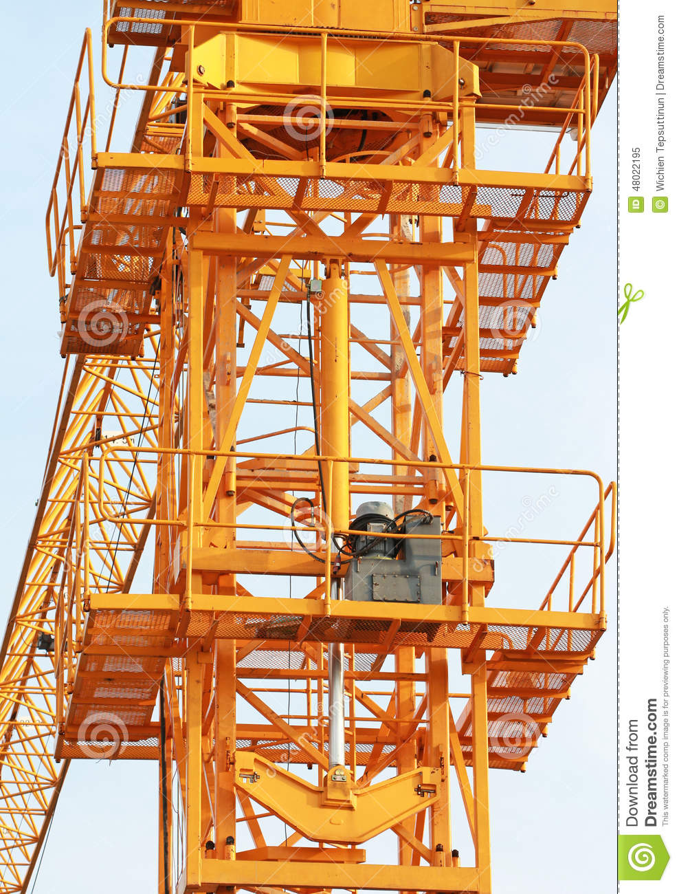 Crane Hydraulic Jack : Hydraulic jacks of tower crane front view stock image