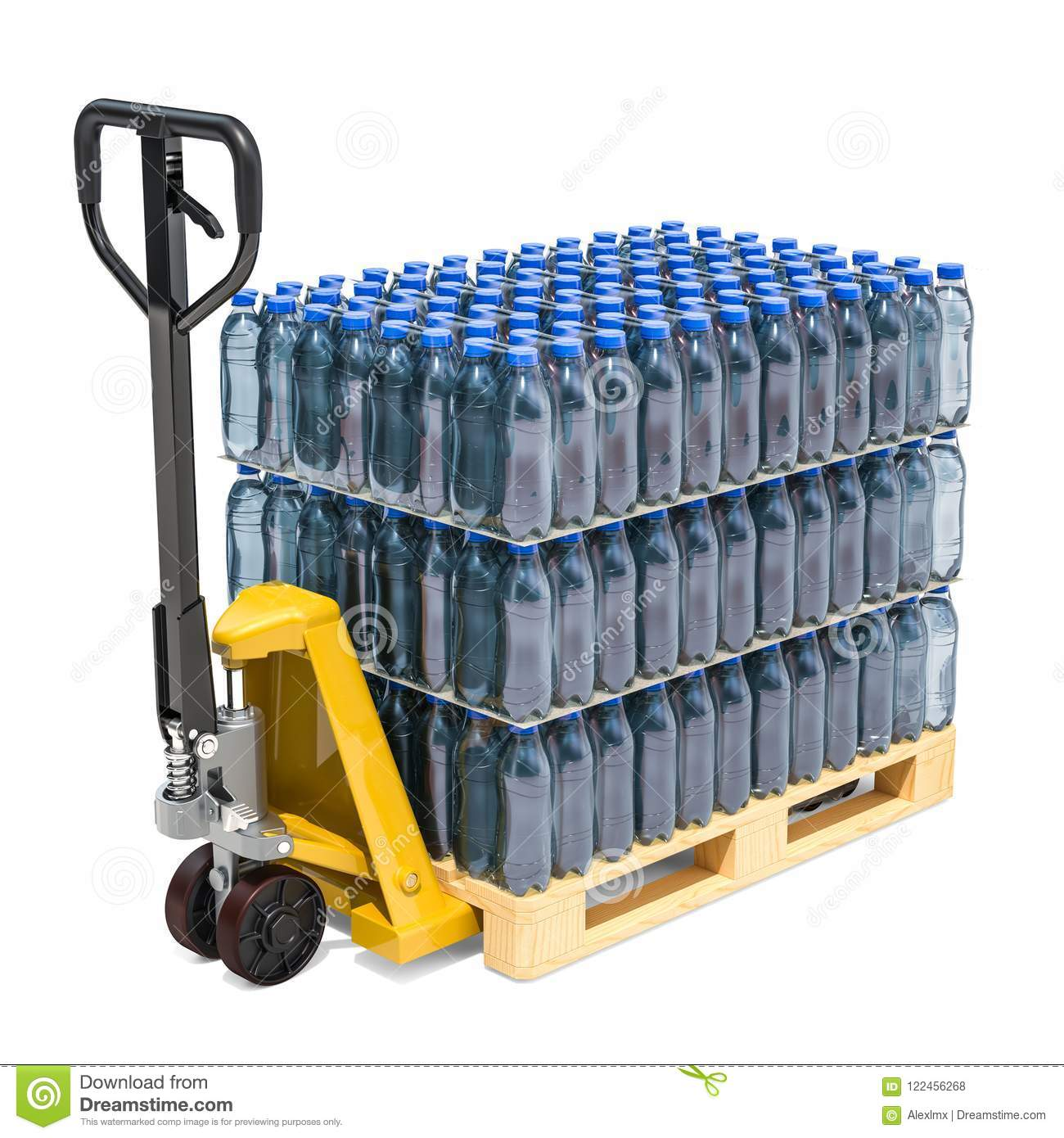 hydraulic pallet jack with water bottles wrapped in the shrink f
