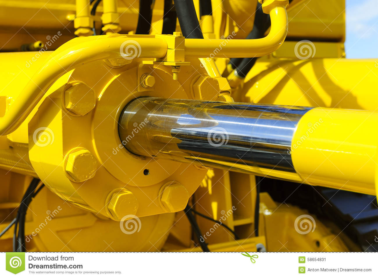 Hydraulic Piston System Stock Image Image Of Bulldozer