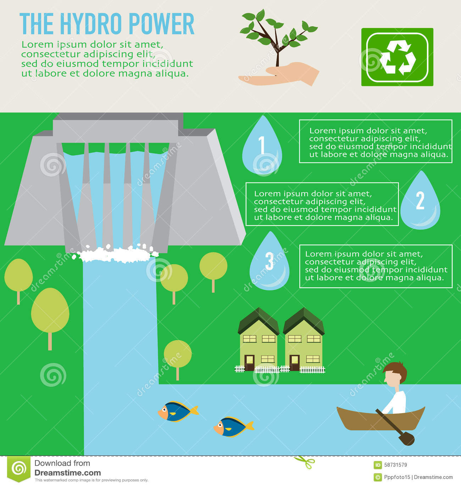 Hydro Power Benefit Infographics Stock Image Image 58731579