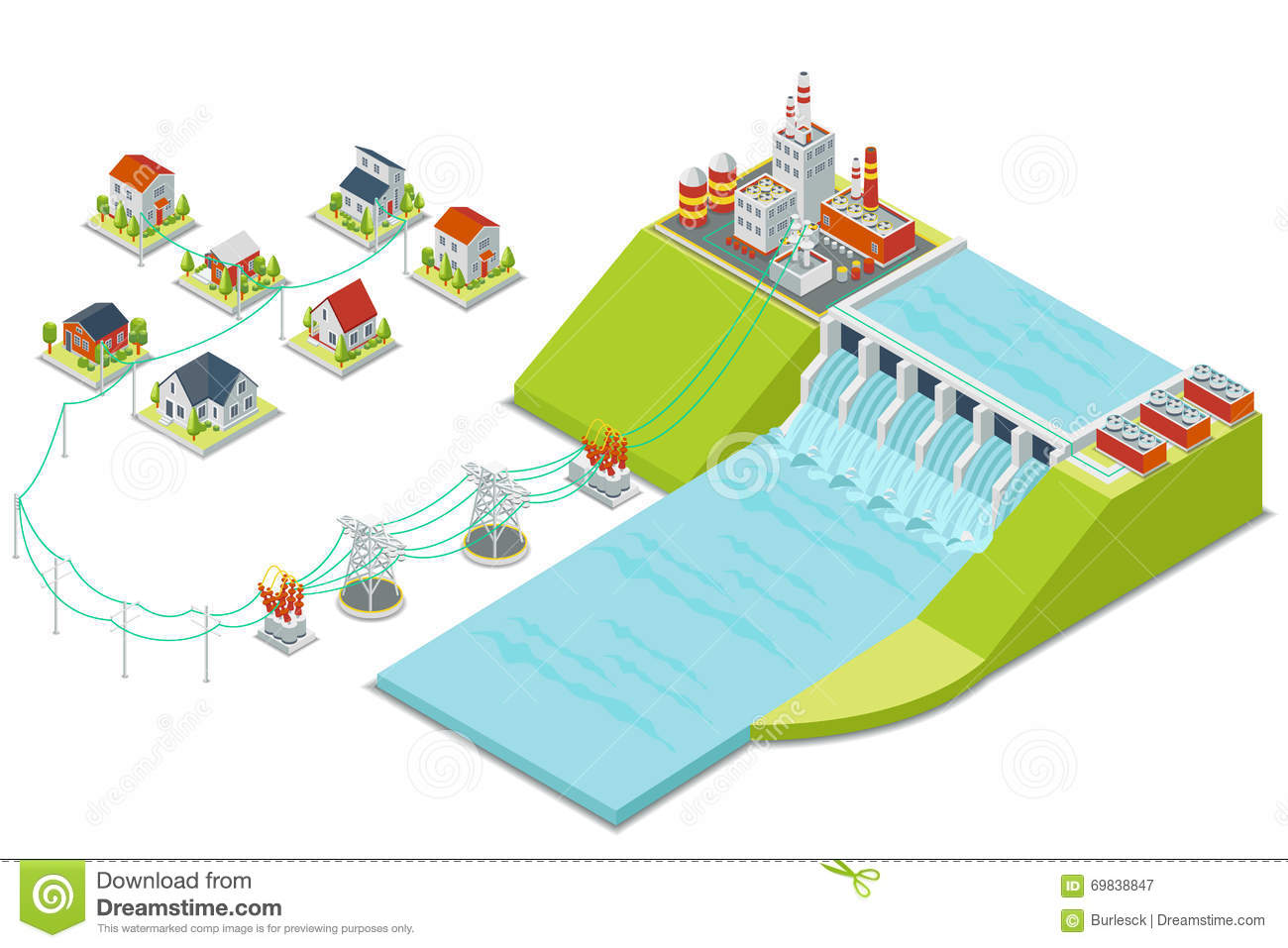 Hydro Power Plant. 3D Isometric Electricity Concept Stock ...