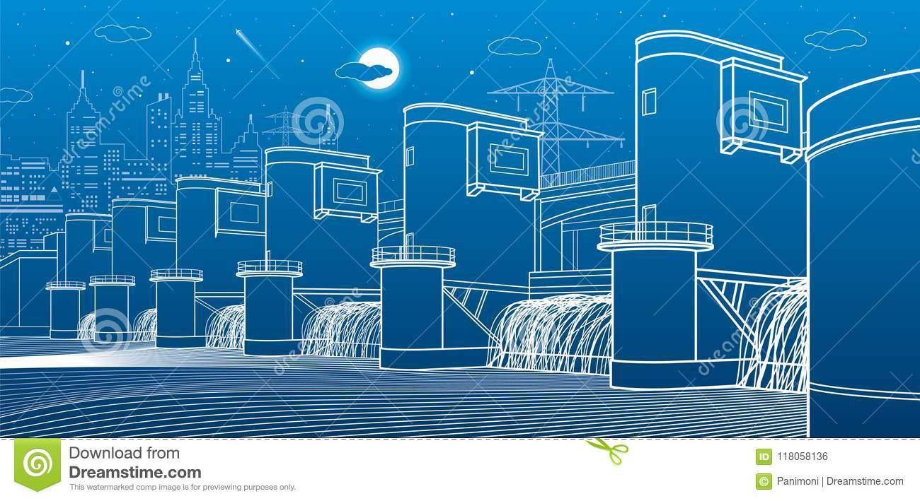 Hydro Power Plant River Dam Energy Station City Infrastructure With Diagram Download Industrial Illustration