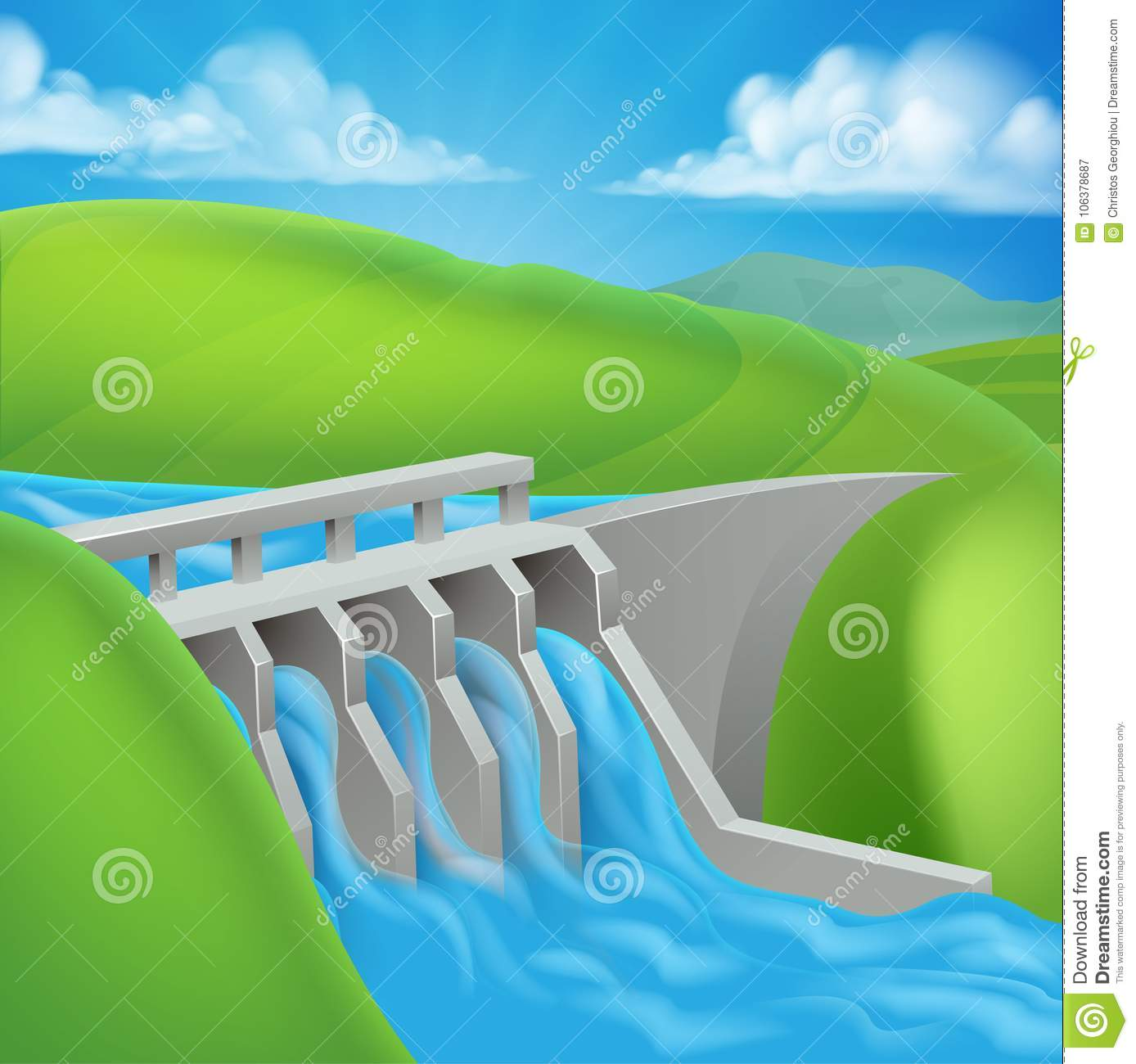 Hydroelectric Power Dam Generating Electricity