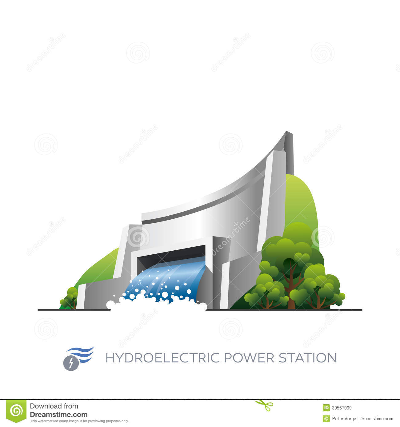 Hydroelectric Power Station Isolated White Background Cartoon Style
