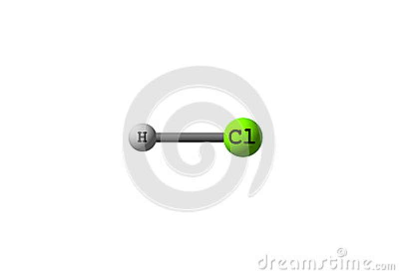 Hydrogen Chloride Molecular Structure On White Stock Illustration
