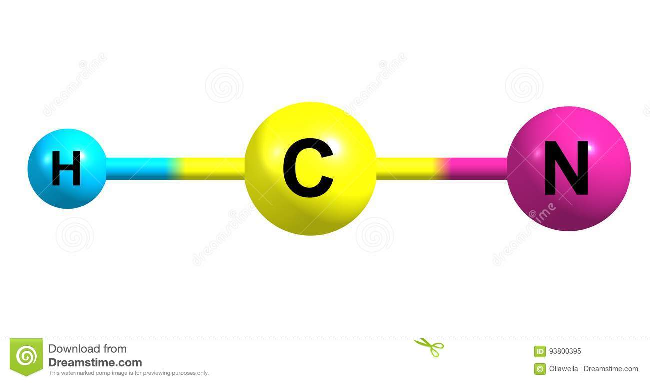 Hydrogen Cyanide Molecular Structure Isolated On White Stock