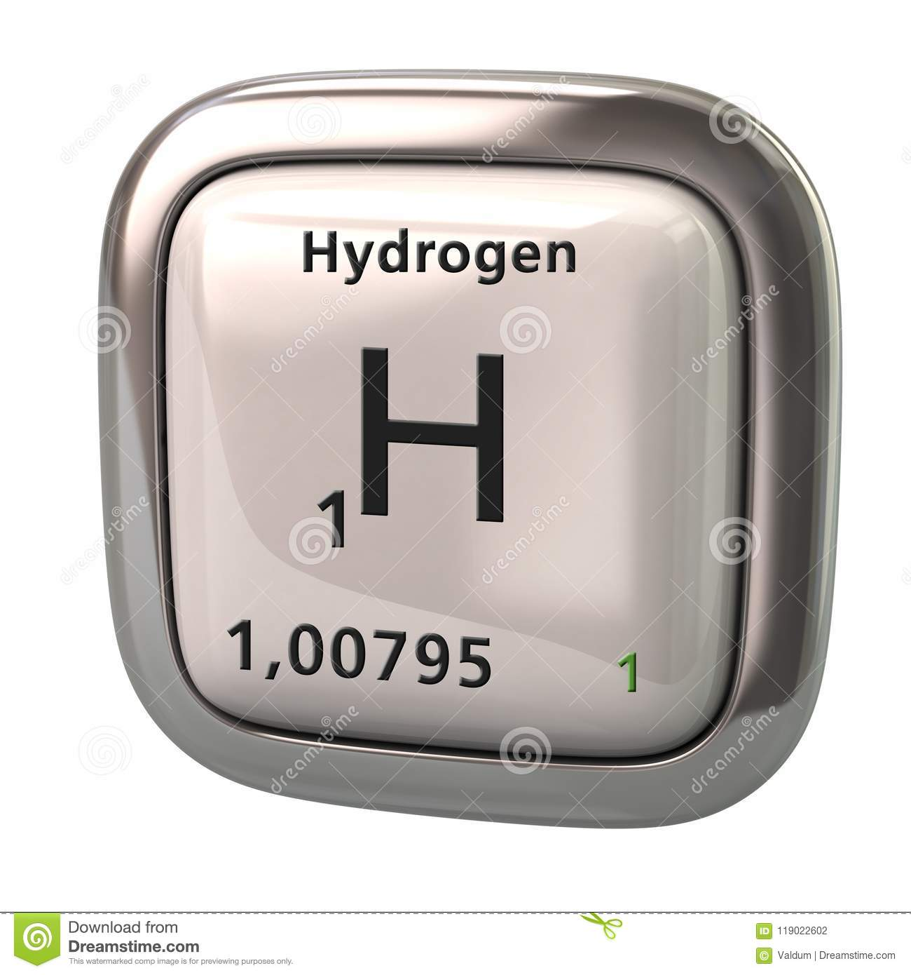 Hydrogen H Chemical Element From The Periodic Table Stock