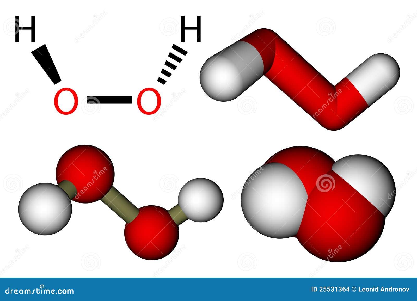 Hydrogen peroxide (H2O2) structural formula and 3D molecular models. H2 Structural Formula