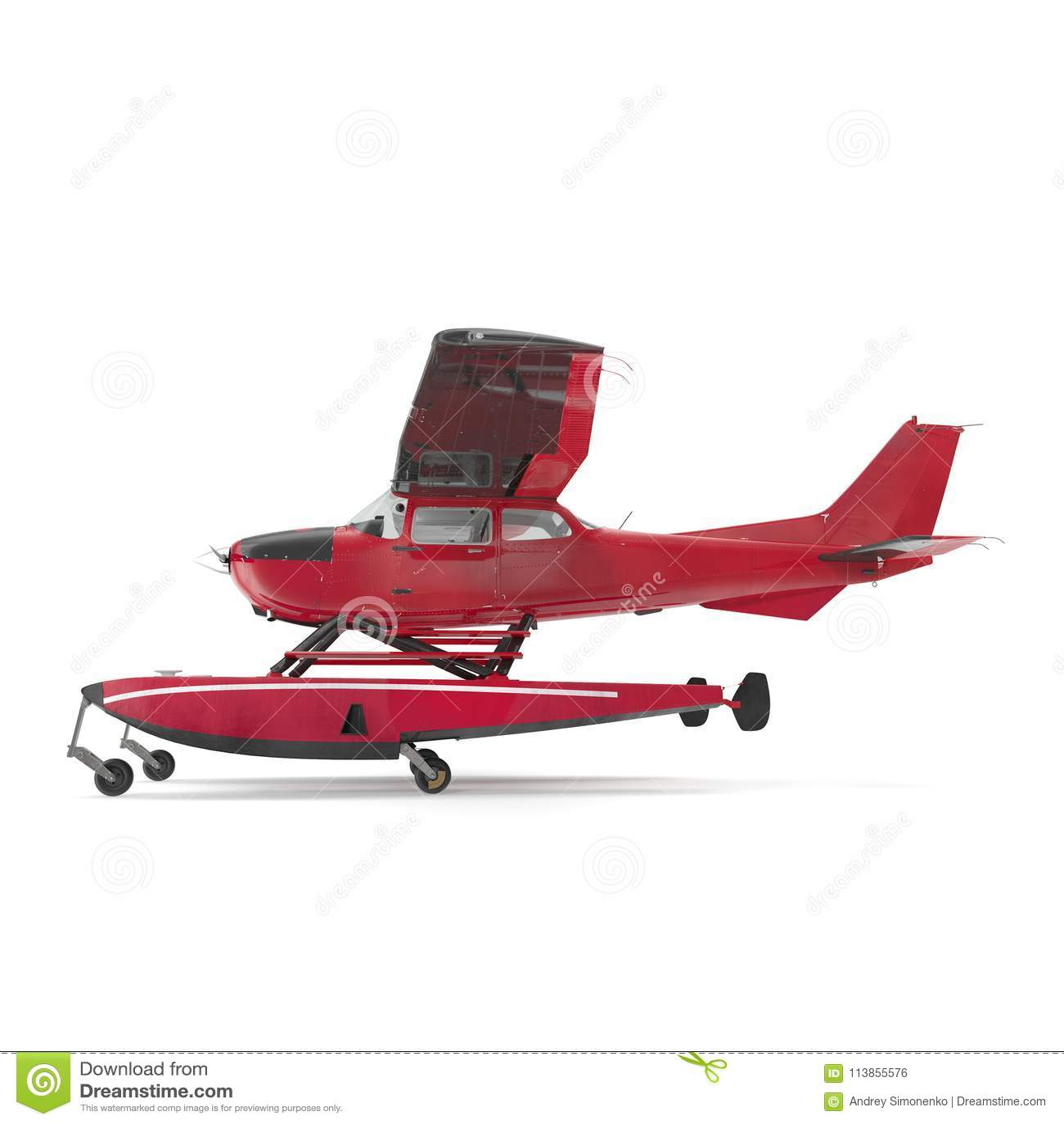 Hydroplane op wit Zachte nadruk 3D Illustratie