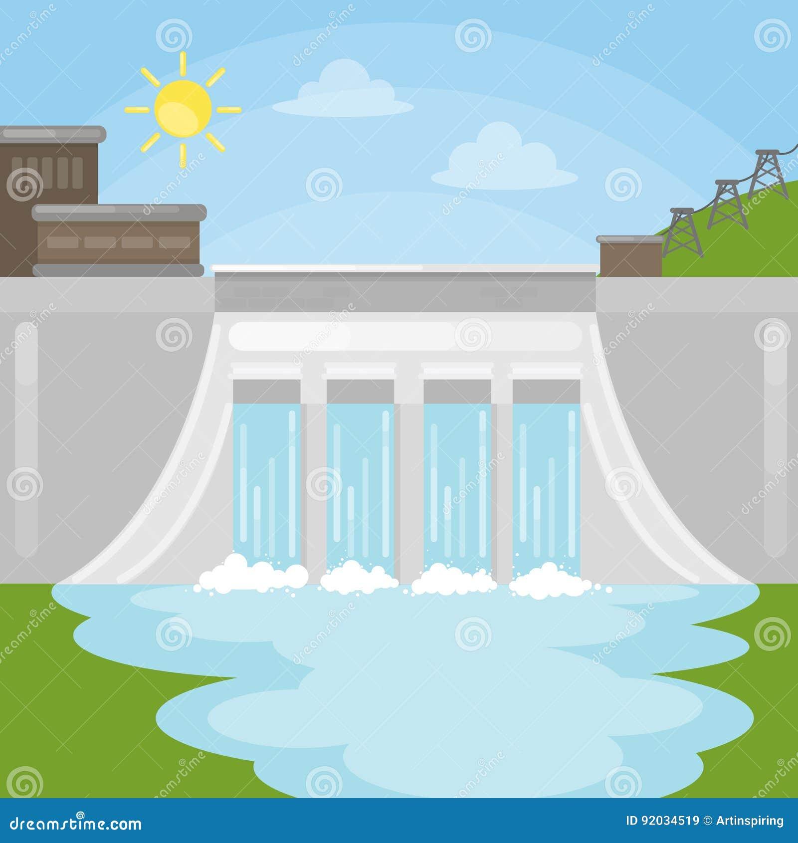 hydropower dam illustration stock vector illustration of