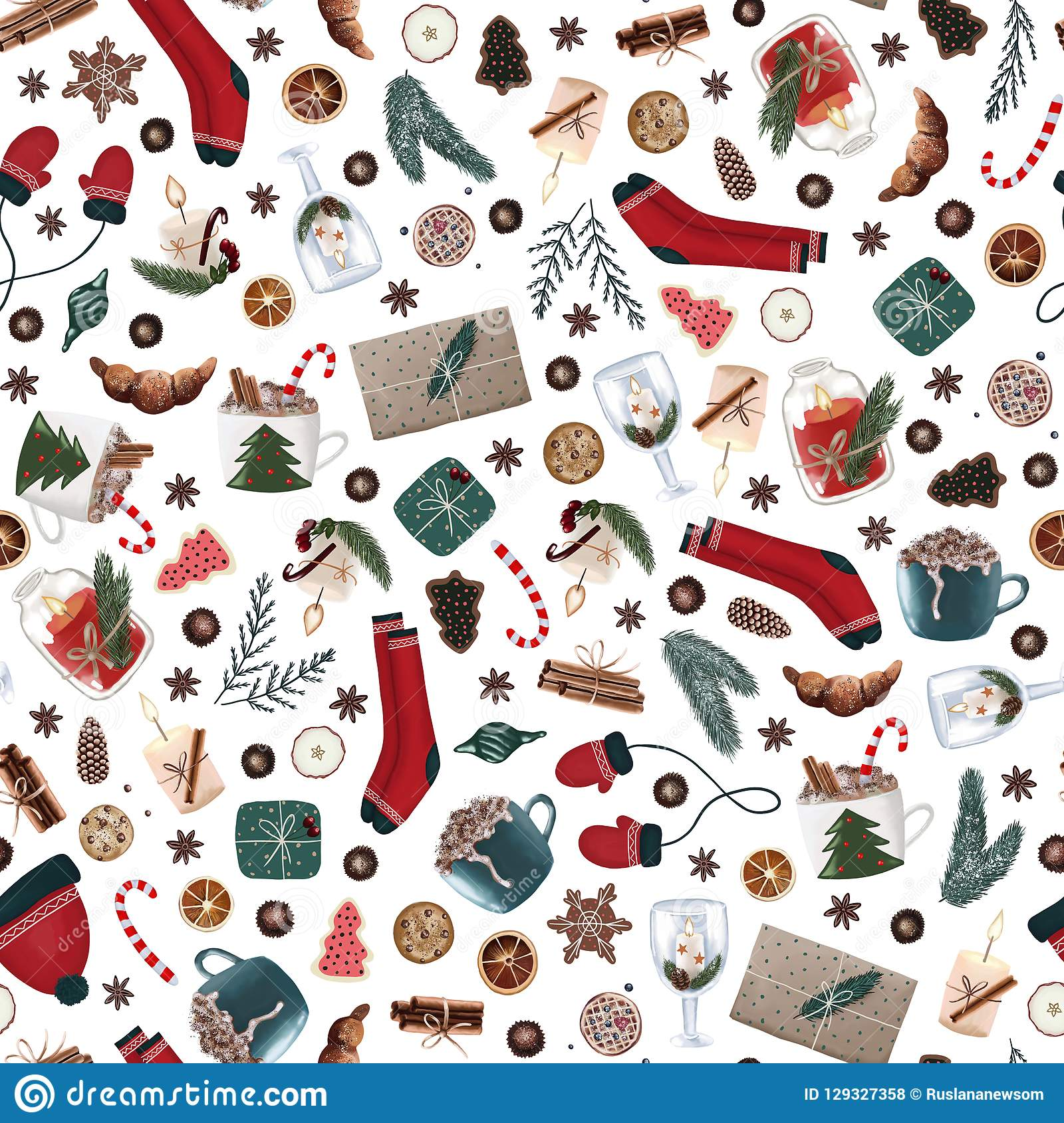 Hygge christmas seamless pattern with cute and cozy christmas items on a white background. dark xmas wrapping paper.