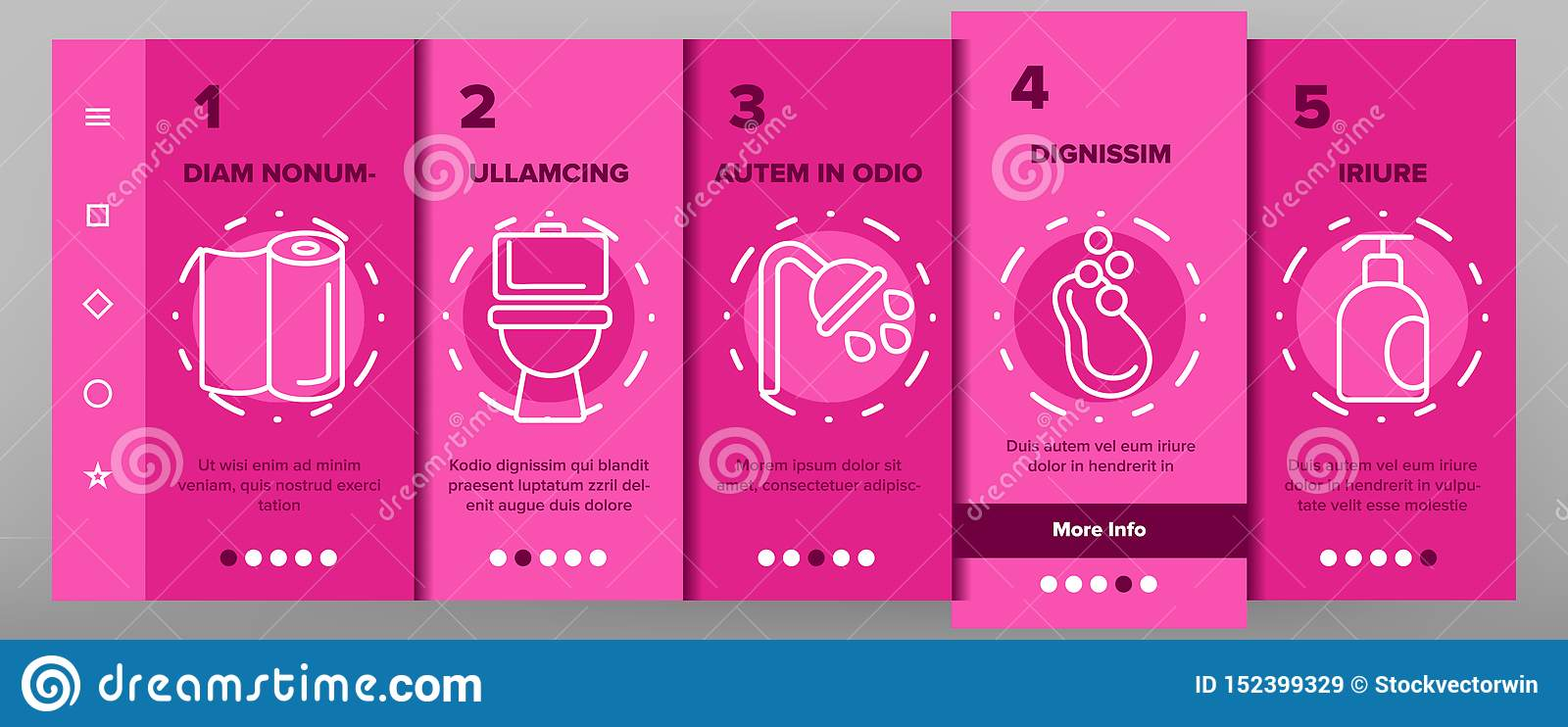 Hygiene, Cleaning Thin Line Icons Vector Onboarding
