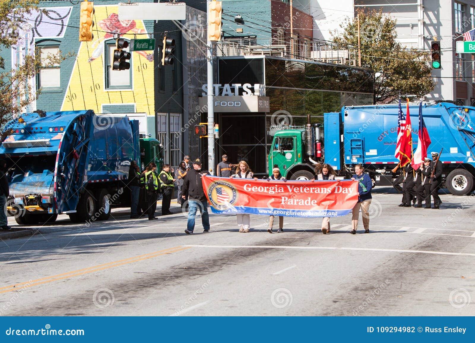Hygiene-LKW-Block-Straßen, zum von Terrorismus an Atlanta-Parade zu verhindern