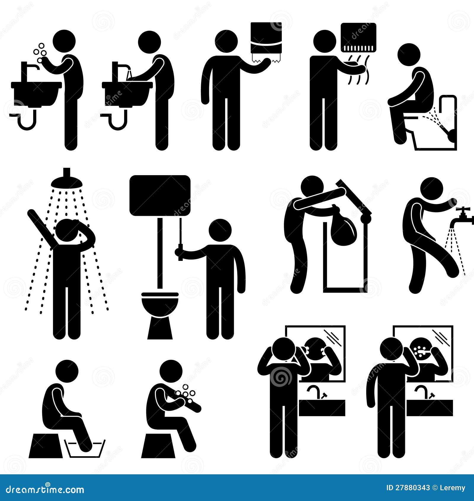 hygi ne personnelle dans le pictogramme de toilette photos stock image 27880343. Black Bedroom Furniture Sets. Home Design Ideas