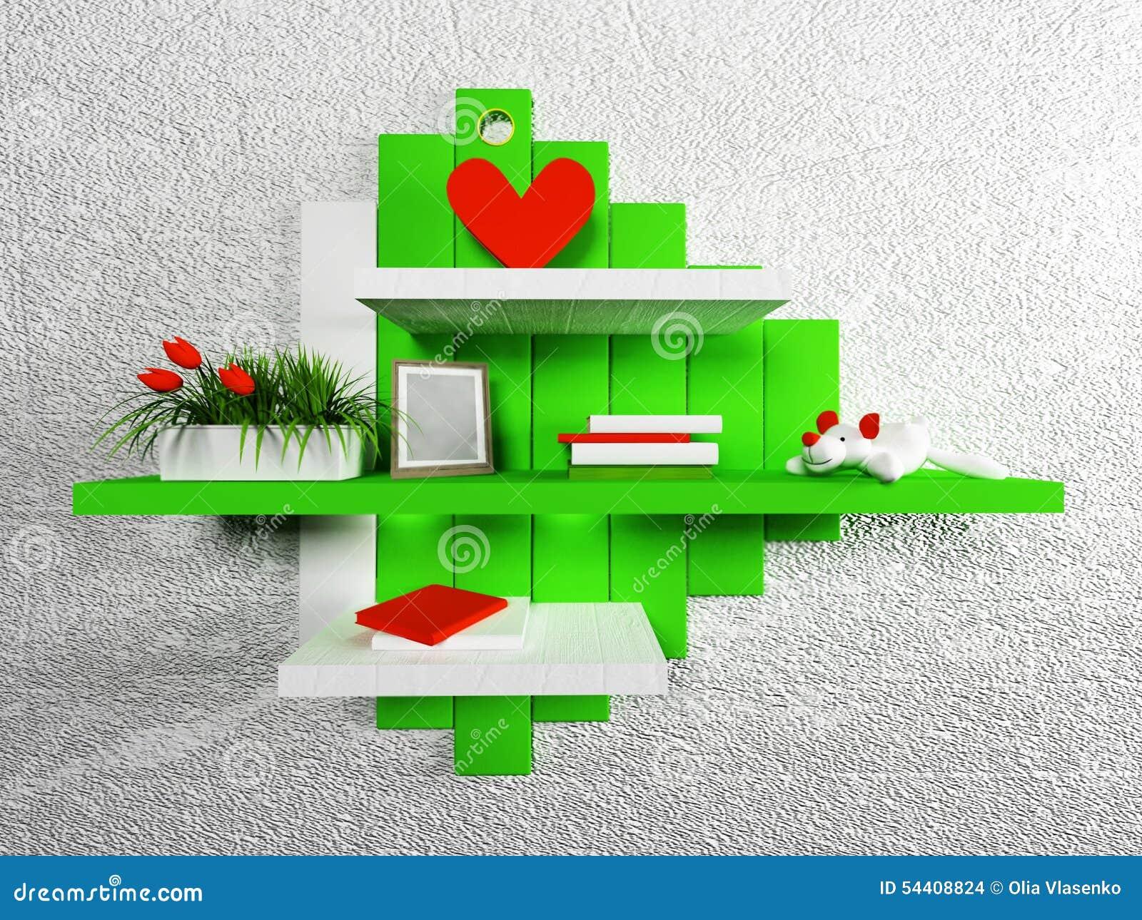 Hylla i barns sovrum stock illustrationer   bild: 54408824