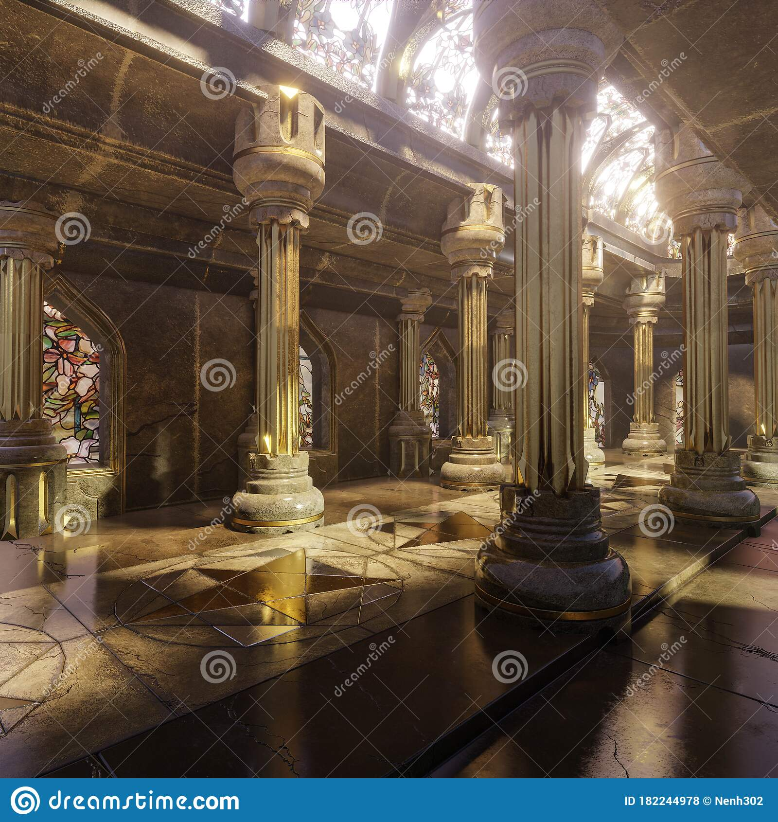 Fantasy Temple Interior With Majestic Pillars And Arches Stock Illustration - Illustration of