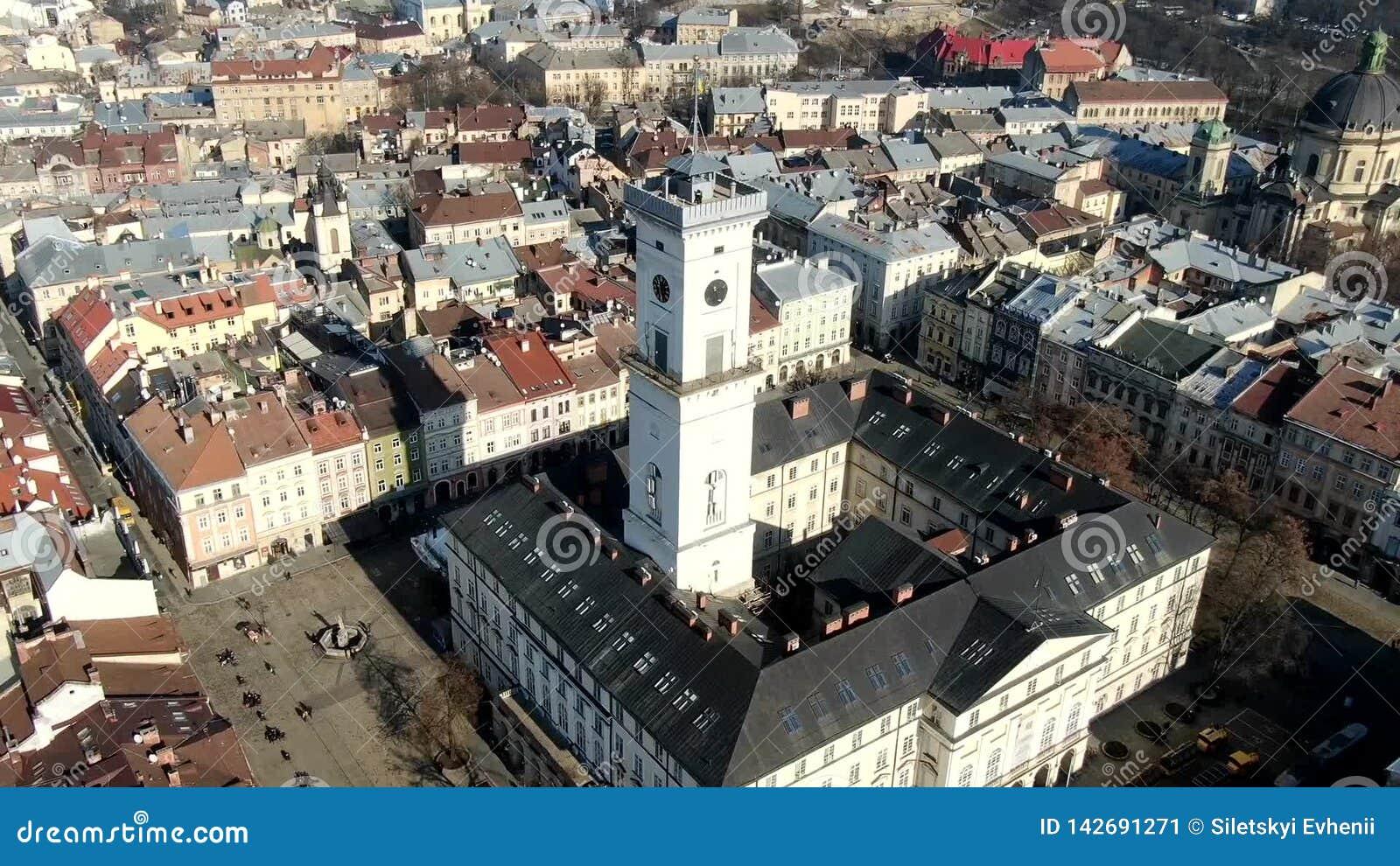 Hyper Zeitspanne der Betäubung von Th Lemberg-Stadt mit seinem schönen Rathausturm stock footage