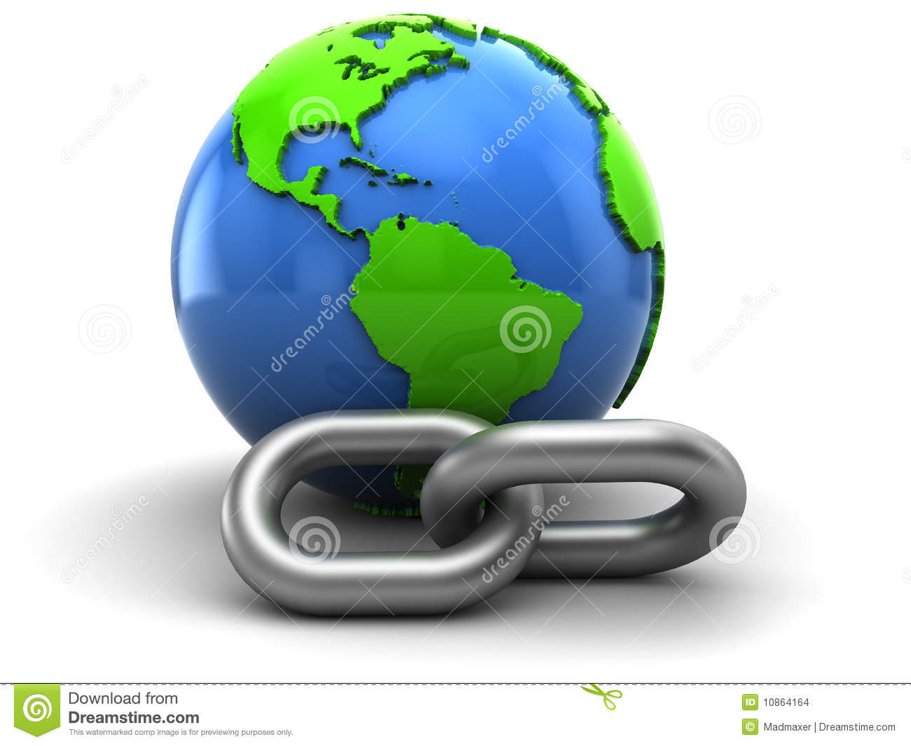 Abstract 3d illustration of earth and chain, hyperlink symbol.