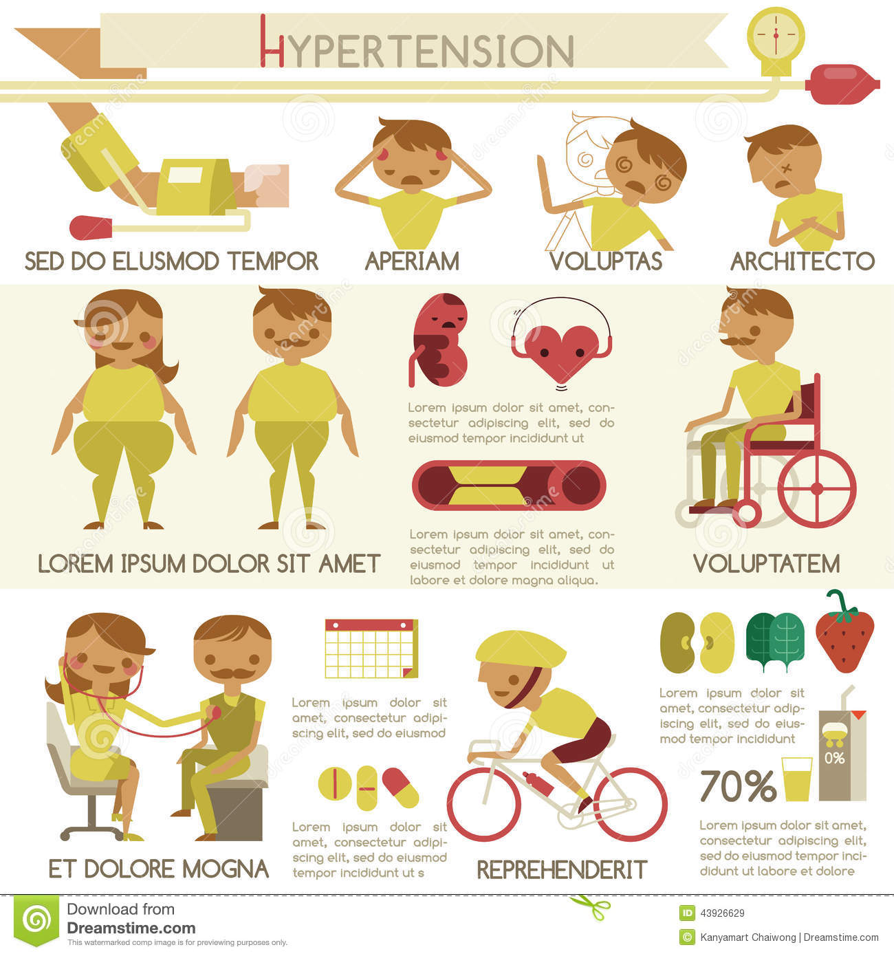 hypertension health care and medical infographic stock