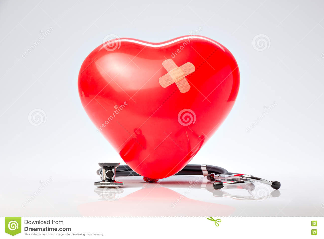 Hypertension, red balloon heart and stethoscope