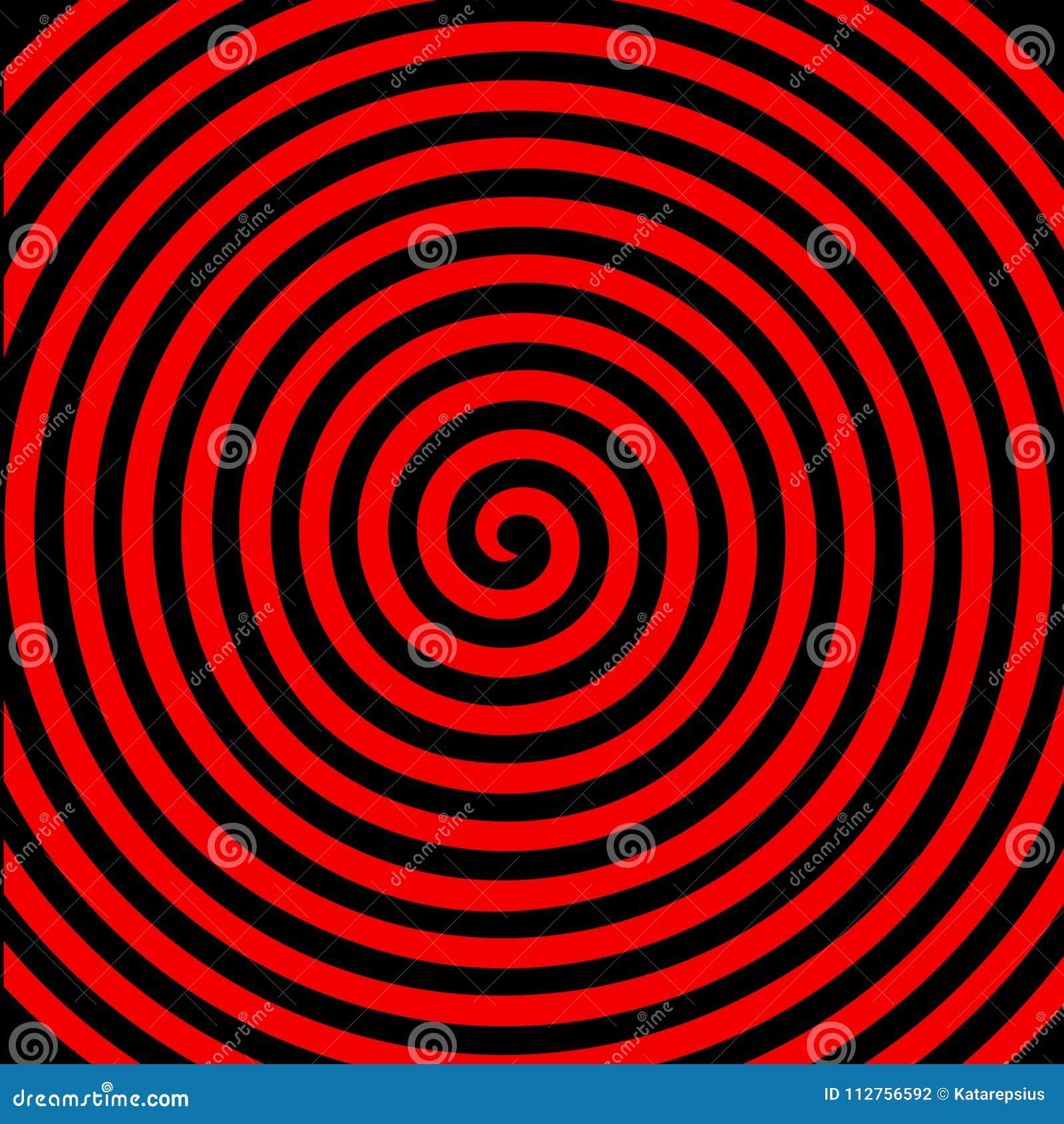 Hypnotisk spiral tapet för svart röd rundaabstrakt begreppvirvel