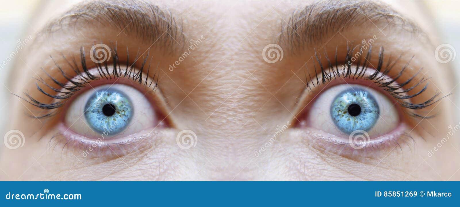 hypnotized gaze girl eyes blue color stock image image of