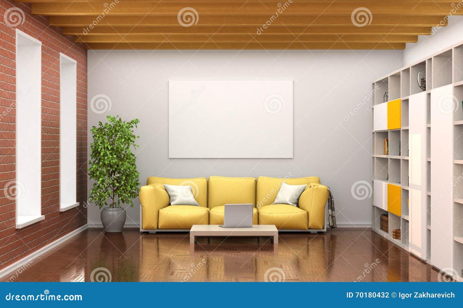 Hyra rum inre med den gula soffan, stora fönster,