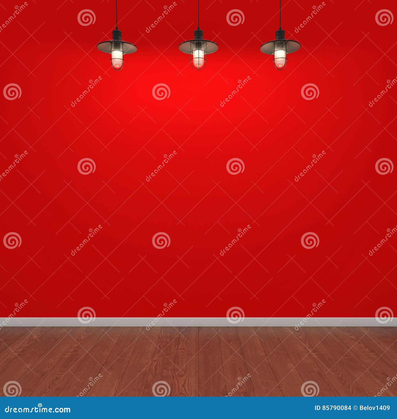Hyra rum med den röda väggen, trägolvet och lampor