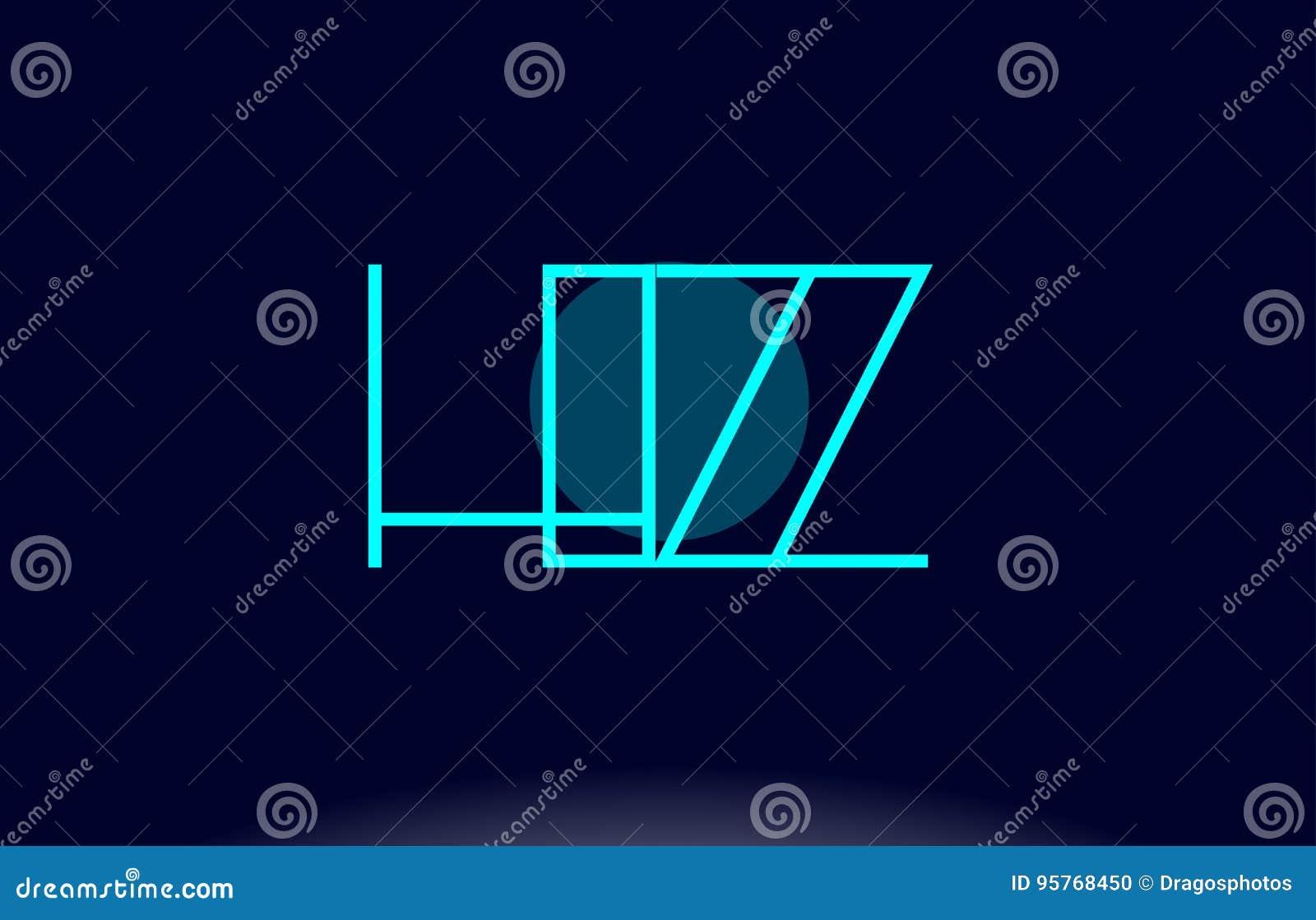 hz h z blue line circle alphabet letter logo icon template vecto