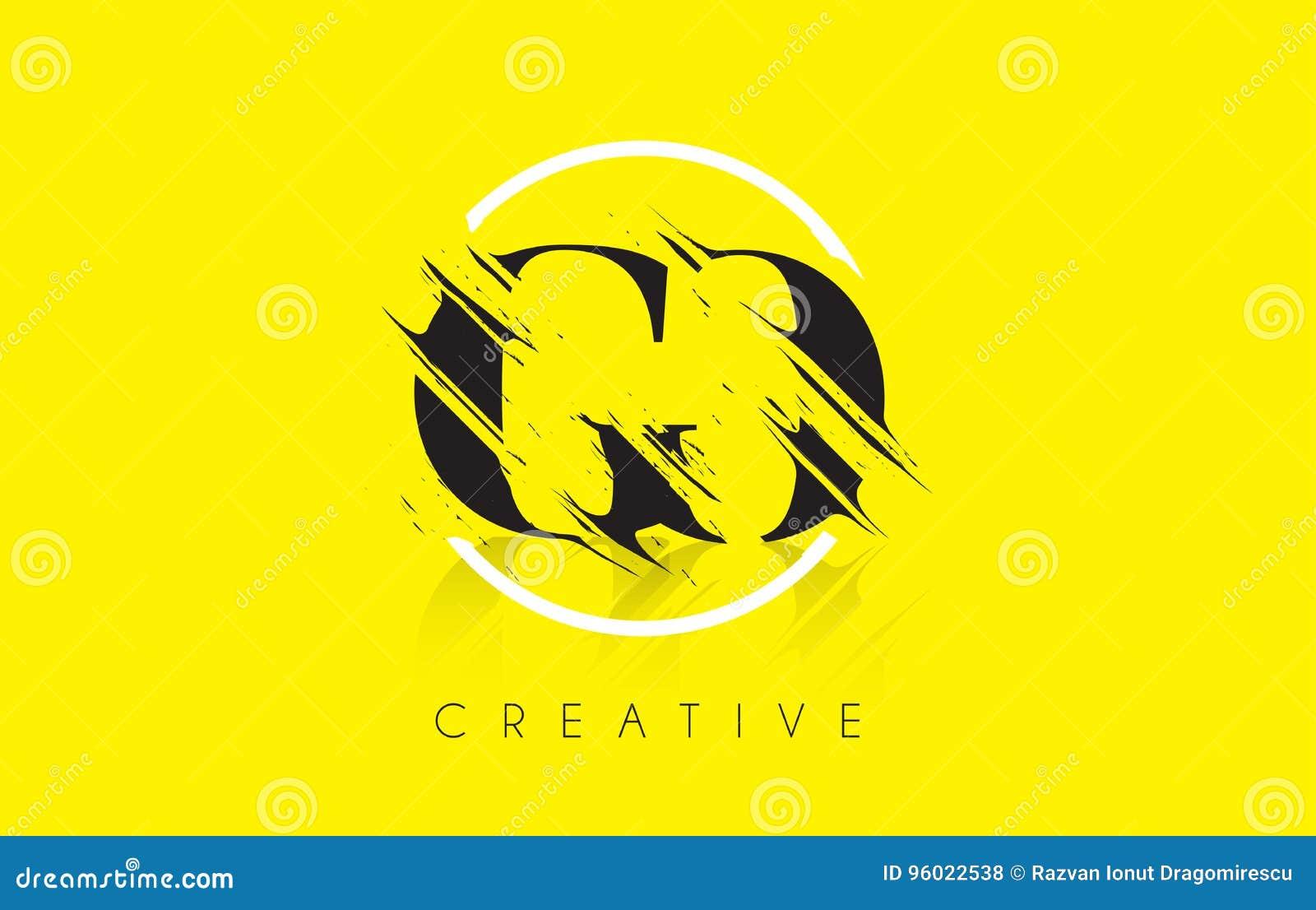 IŚĆ Listowy logo z rocznika Grundge rysunku projektem Zniszczony Cu
