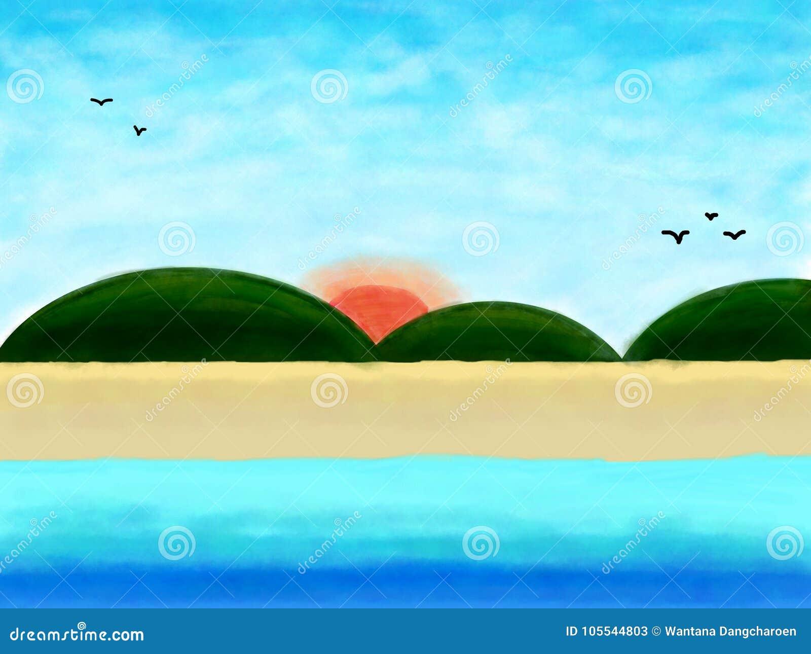 Iść plaża, lata tło wodnym kolorem