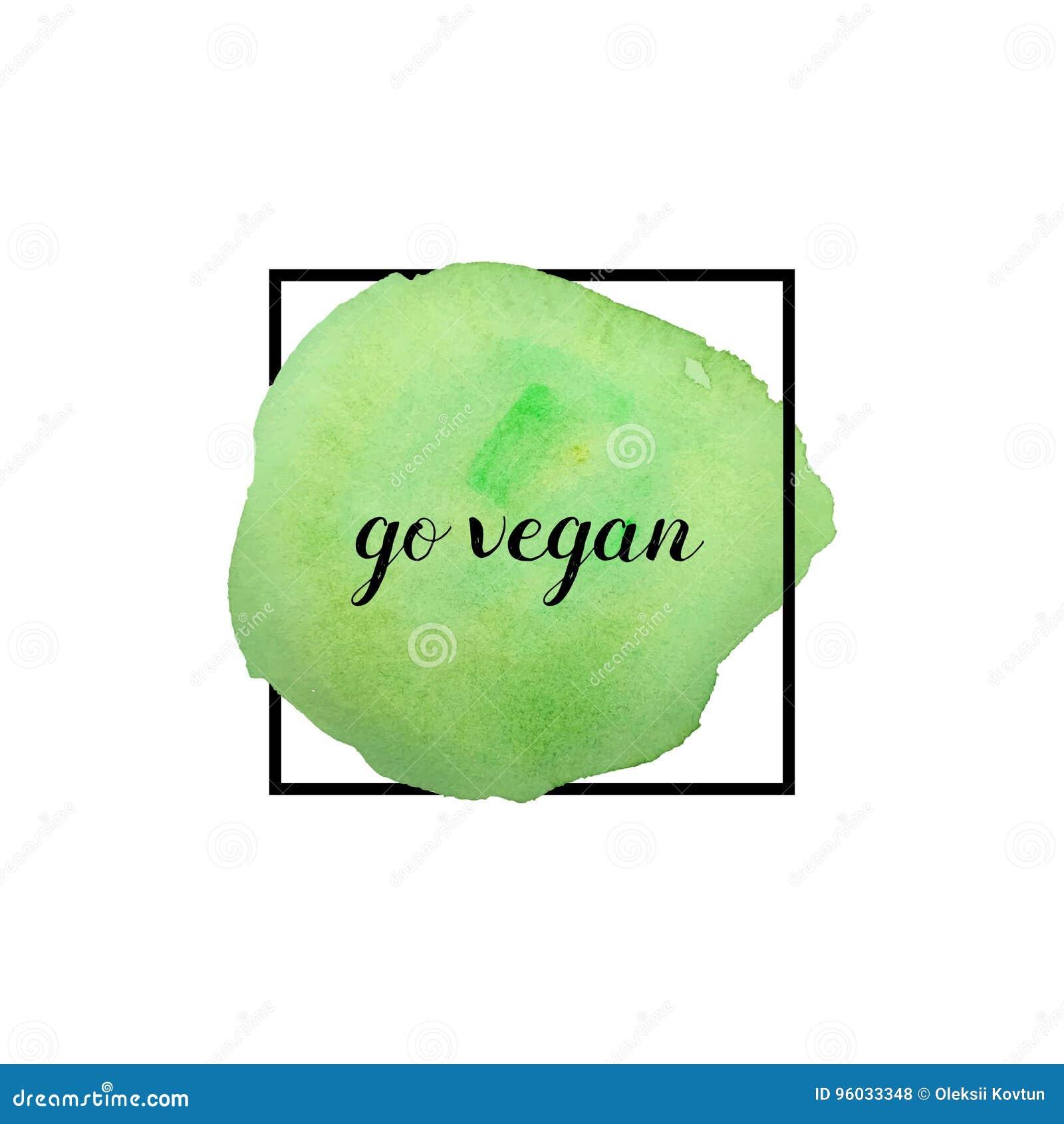Iść weganinu motto również zwrócić corel ilustracji wektora Szczotkarski uderzenie w ramie