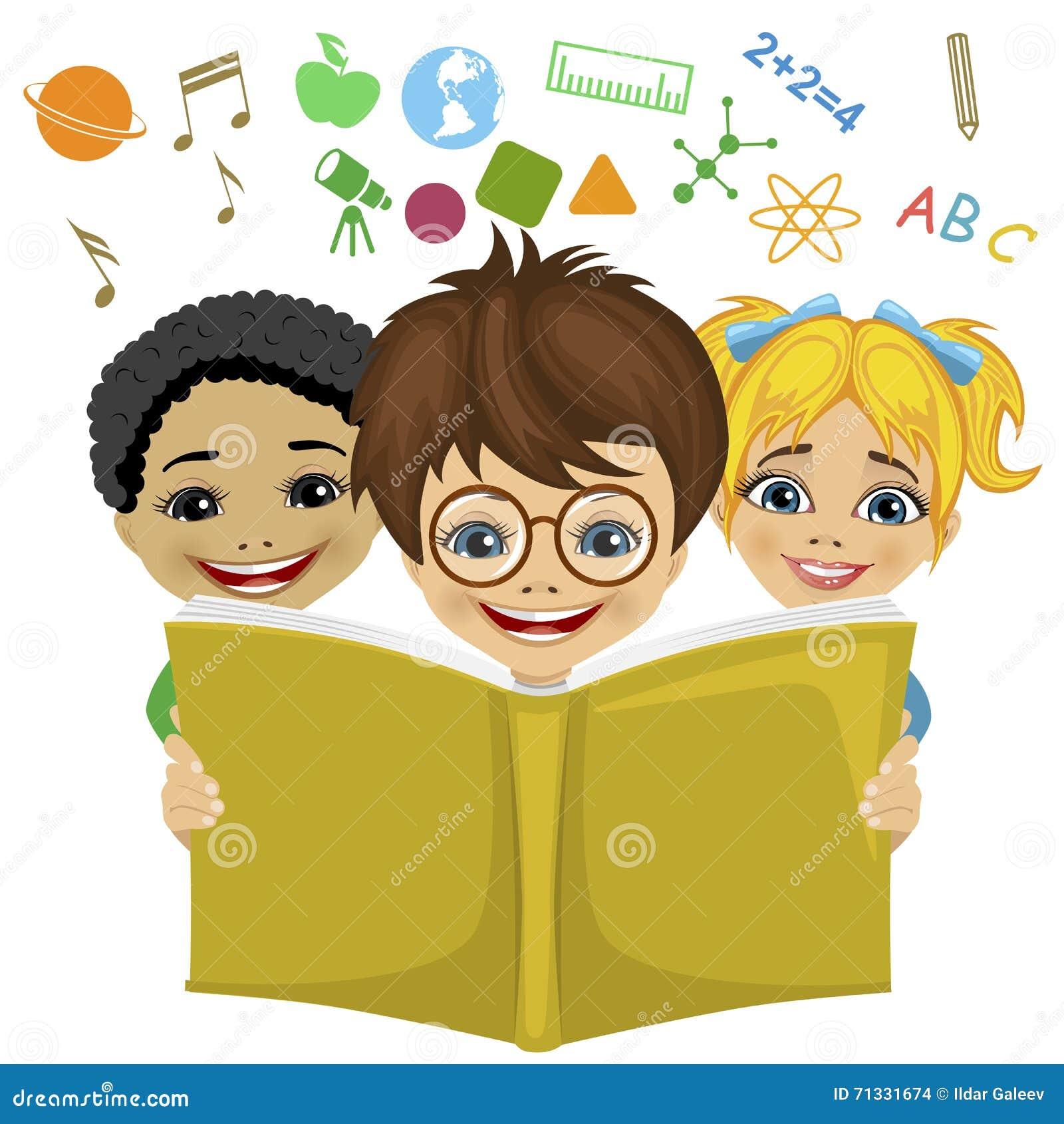 I bambini che leggono un libro con istruzione hanno - Libri di scuola materna stampabili gratuitamente ...