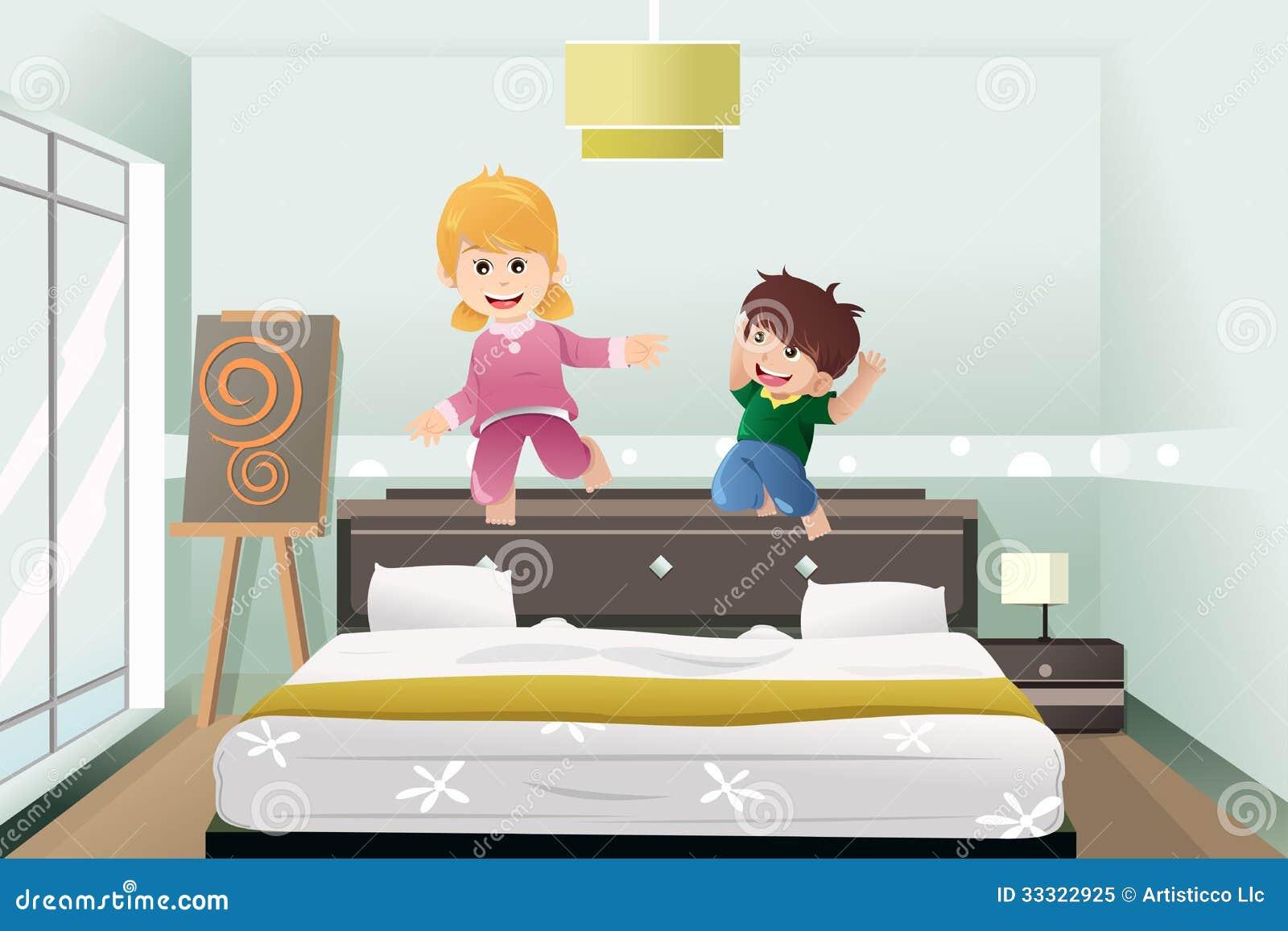 I bambini che saltano sul letto fotografia stock libera da - Giochi da baciare sul letto ...